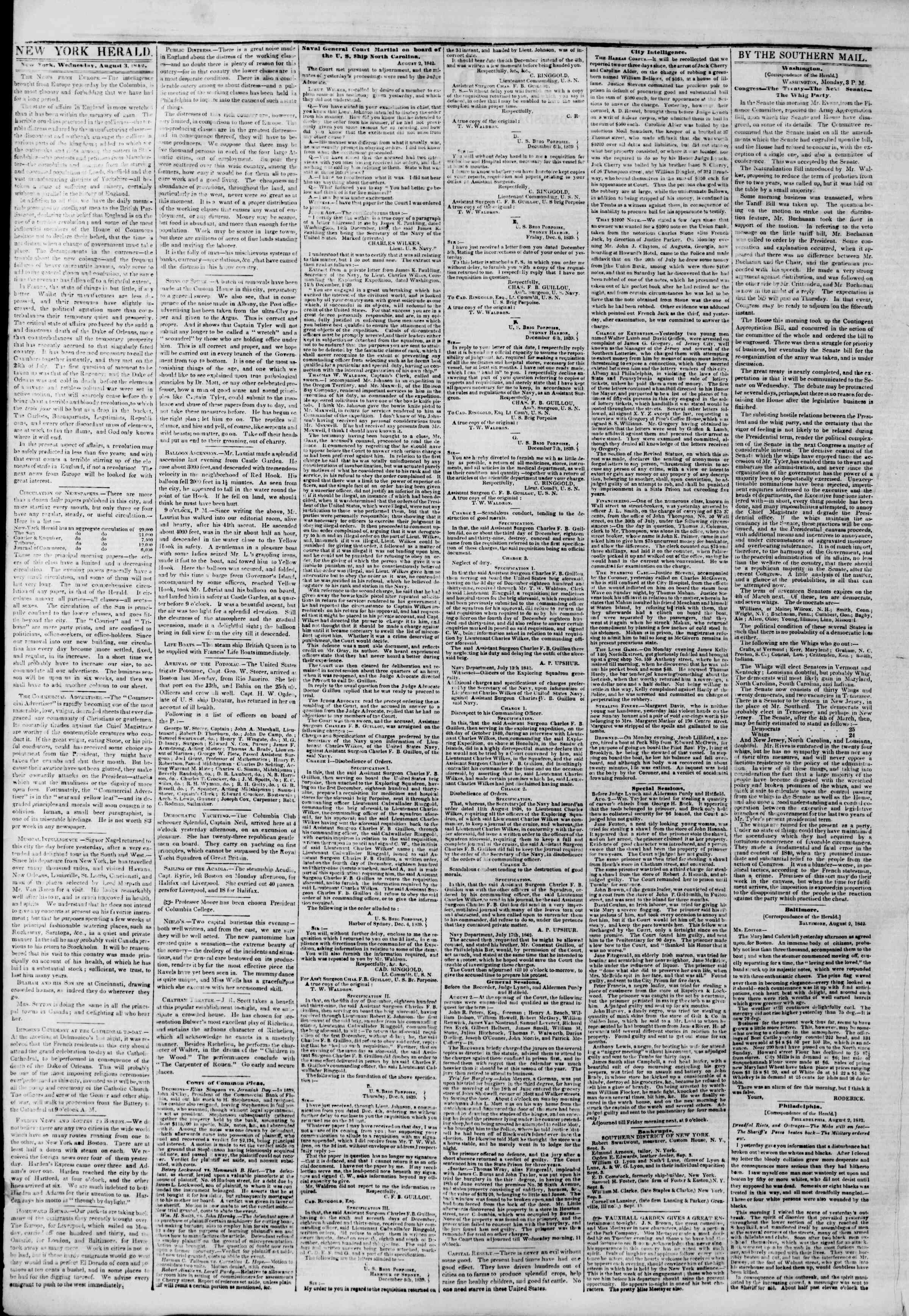 Newspaper of The New York Herald dated August 3, 1842 Page 2