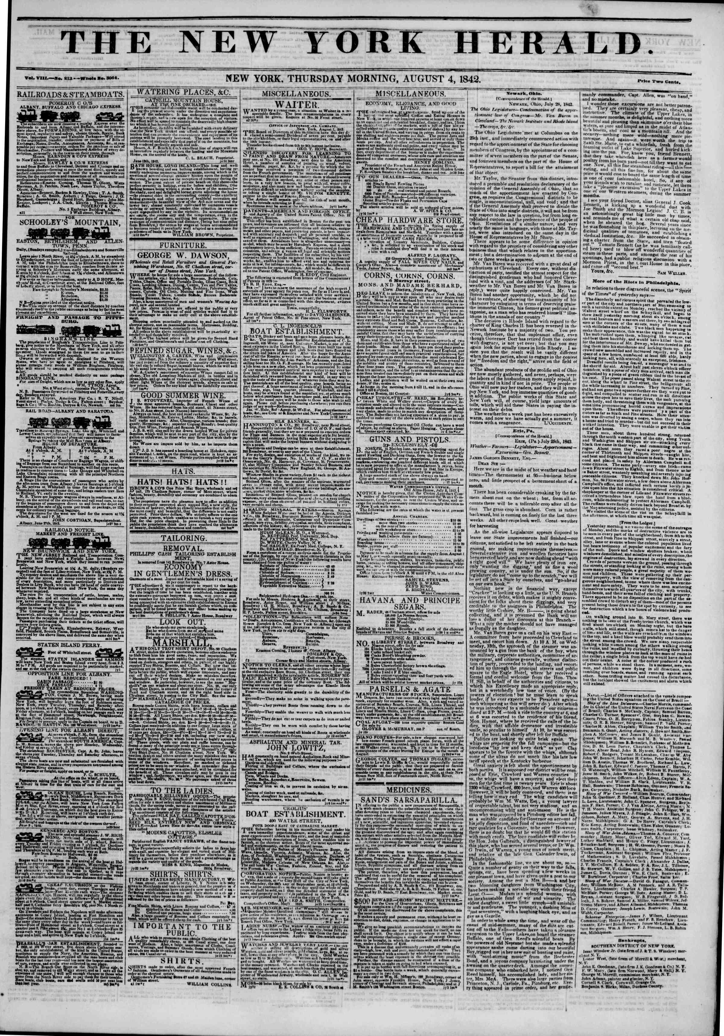 August 4, 1842 Tarihli The New York Herald Gazetesi Sayfa 1