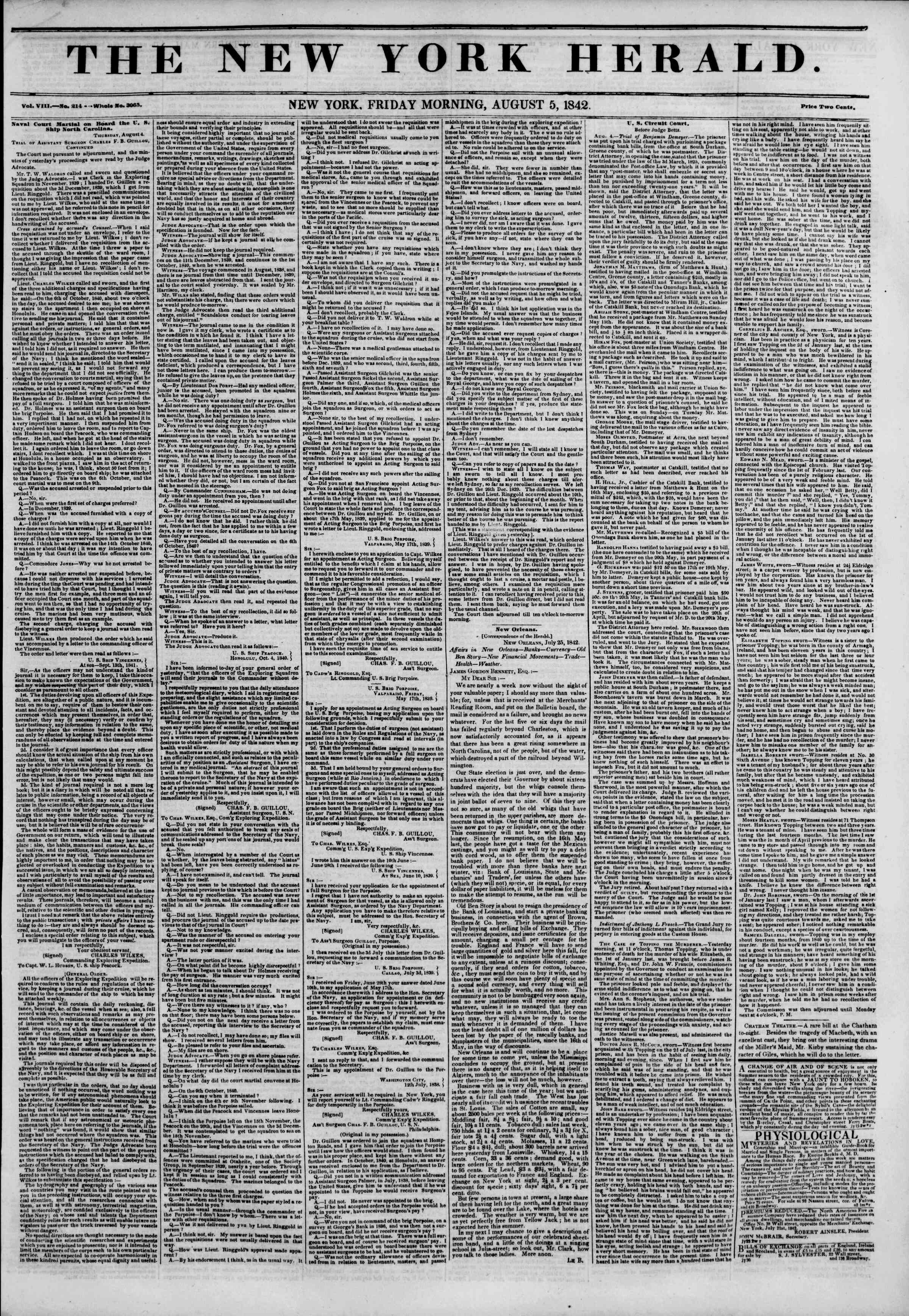 August 5, 1842 Tarihli The New York Herald Gazetesi Sayfa 1
