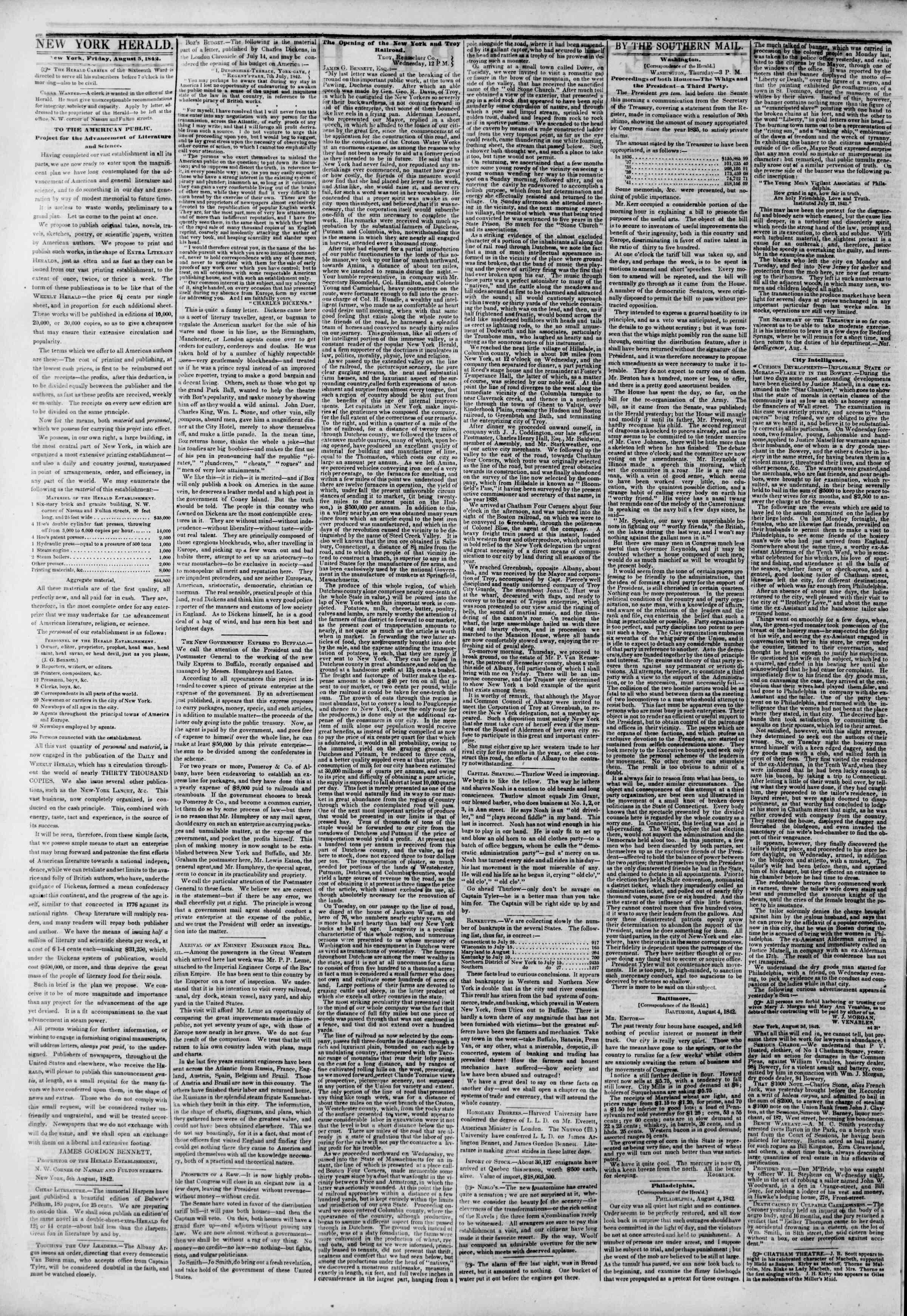5 Ağustos 1842 Tarihli The New York Herald Gazetesi Sayfa 2