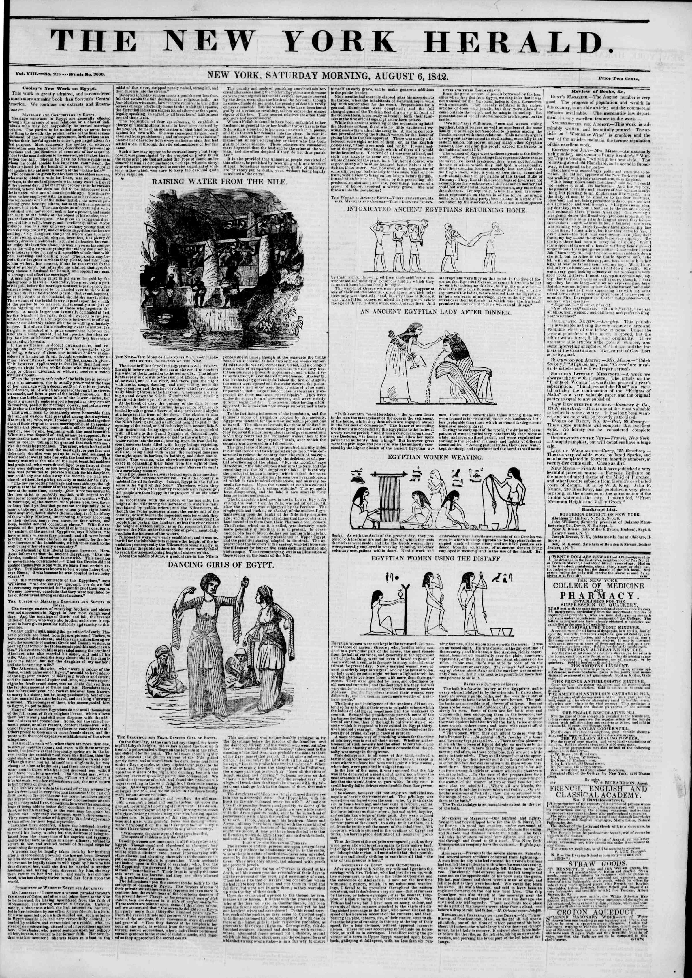 Newspaper of The New York Herald dated August 6, 1842 Page 1