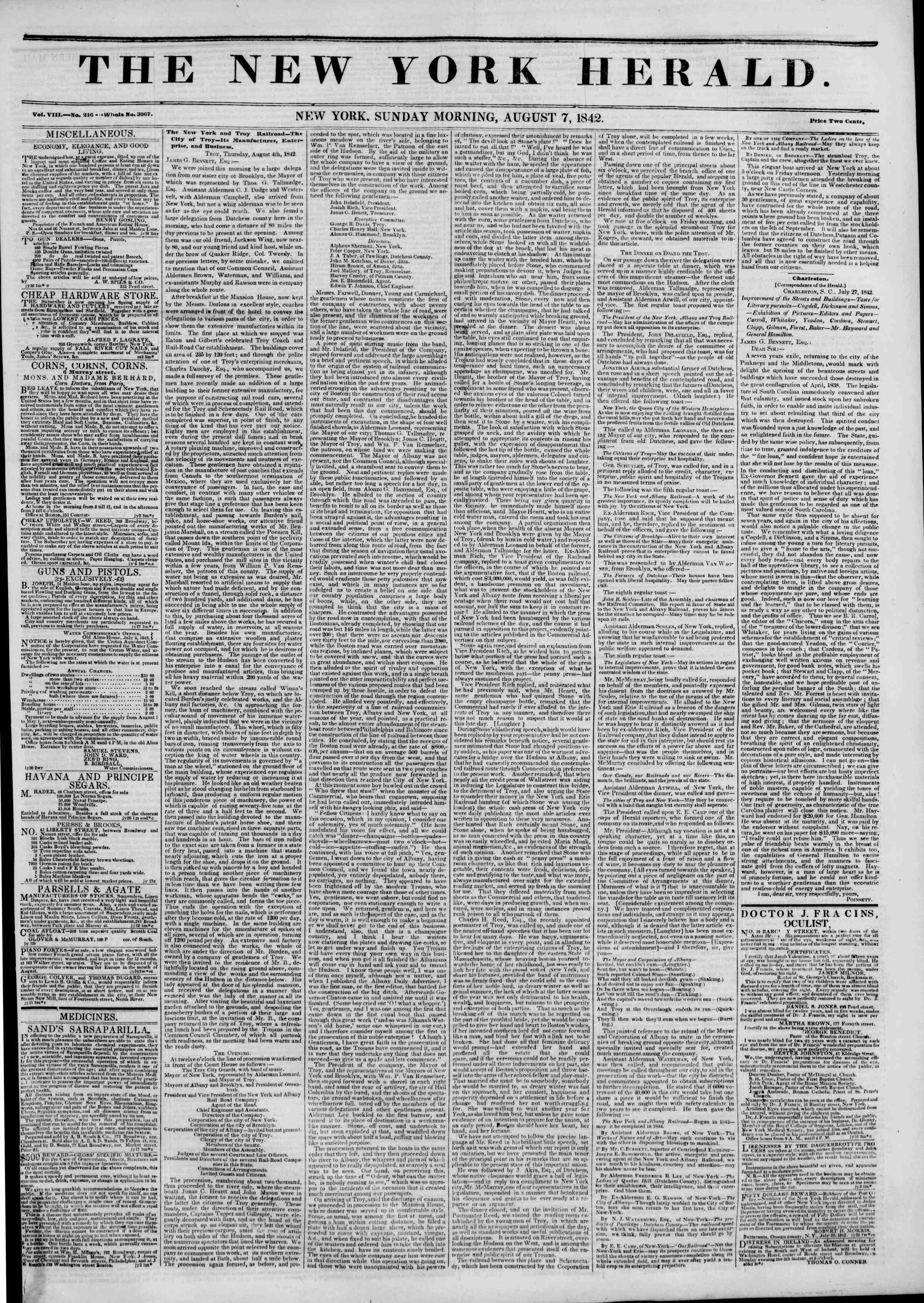 Newspaper of The New York Herald dated August 7, 1842 Page 1