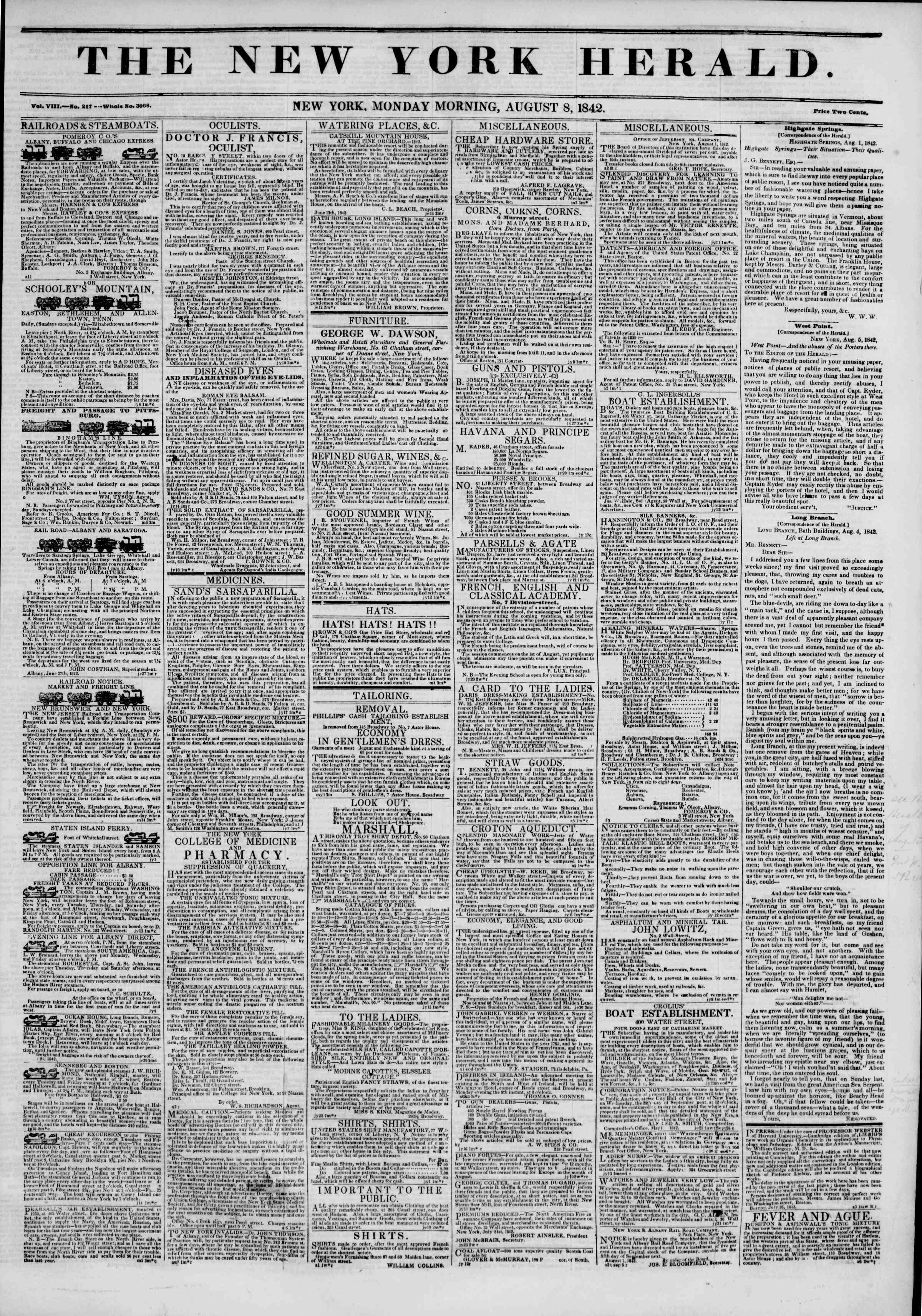 Newspaper of The New York Herald dated August 8, 1842 Page 1