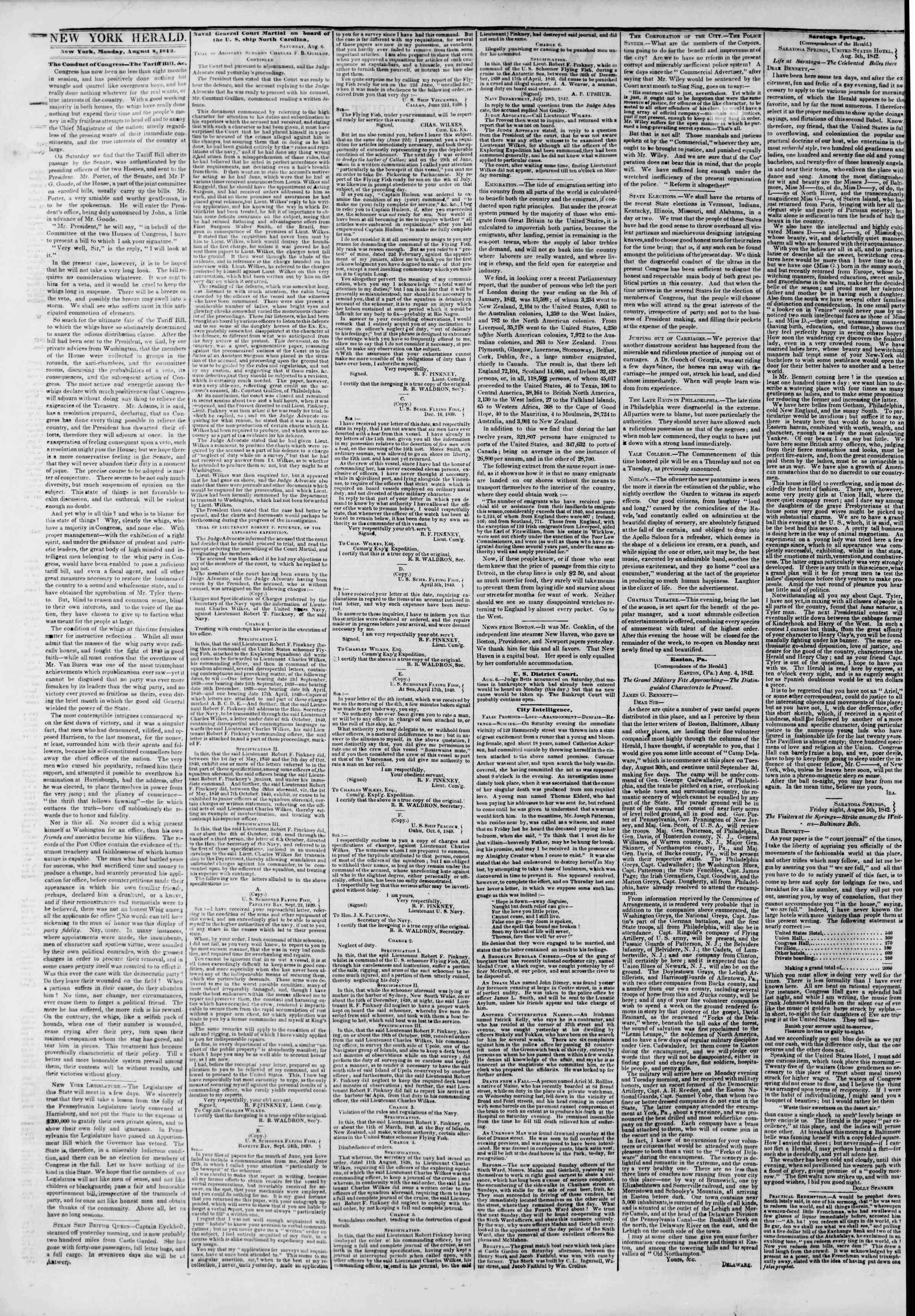 8 Ağustos 1842 tarihli The New York Herald Gazetesi Sayfa 2