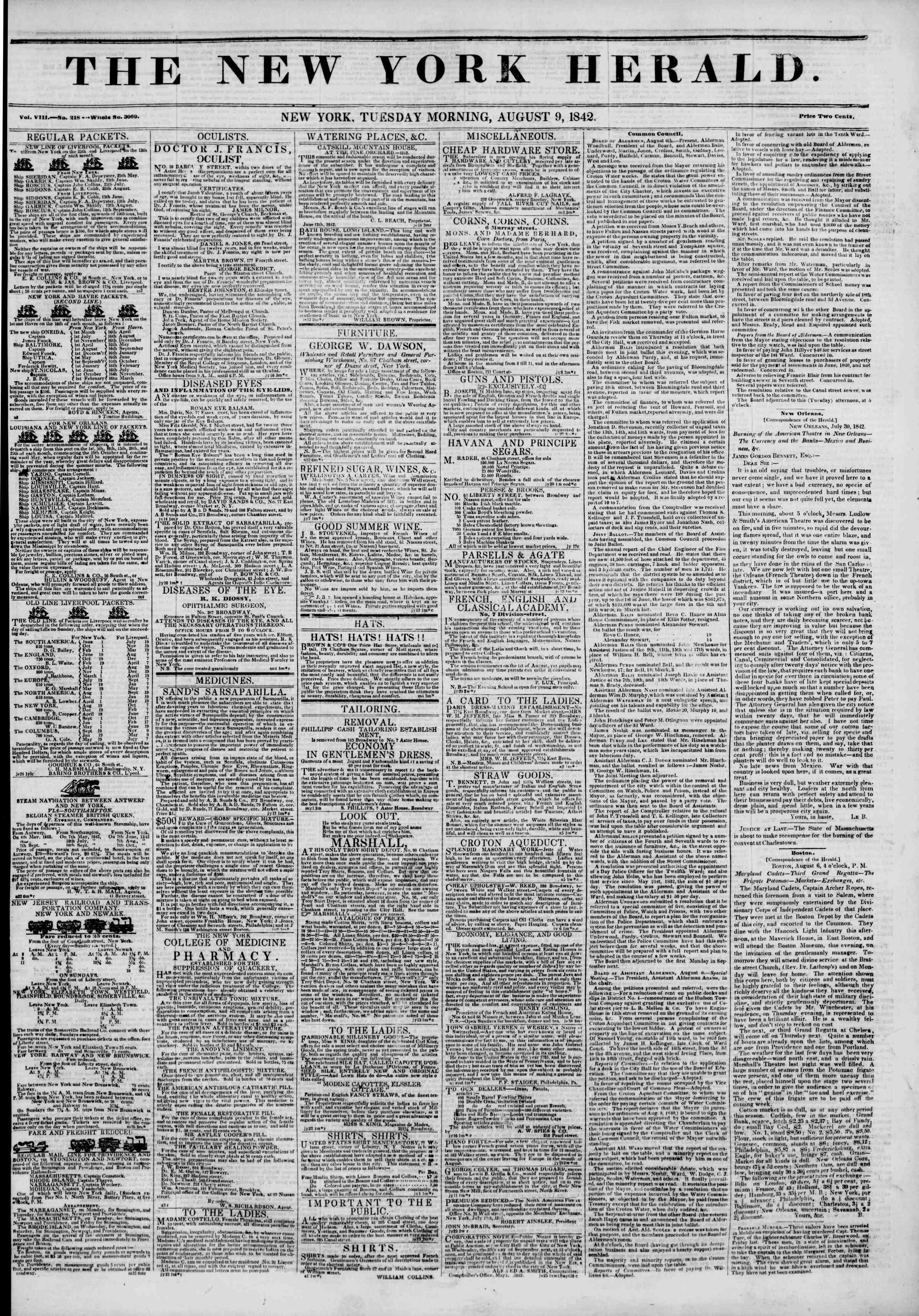August 9, 1842 Tarihli The New York Herald Gazetesi Sayfa 1