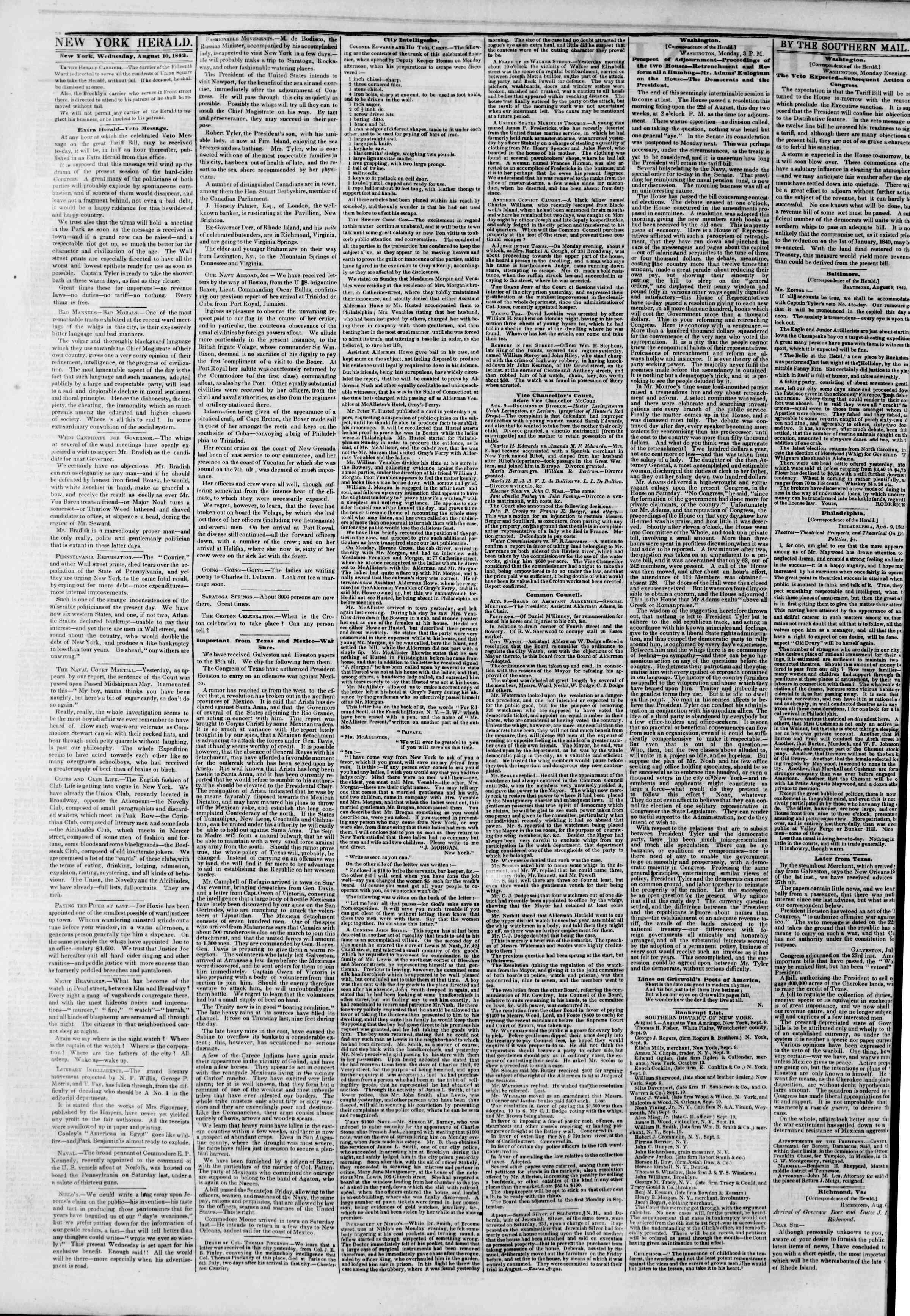 10 Ağustos 1842 tarihli The New York Herald Gazetesi Sayfa 2