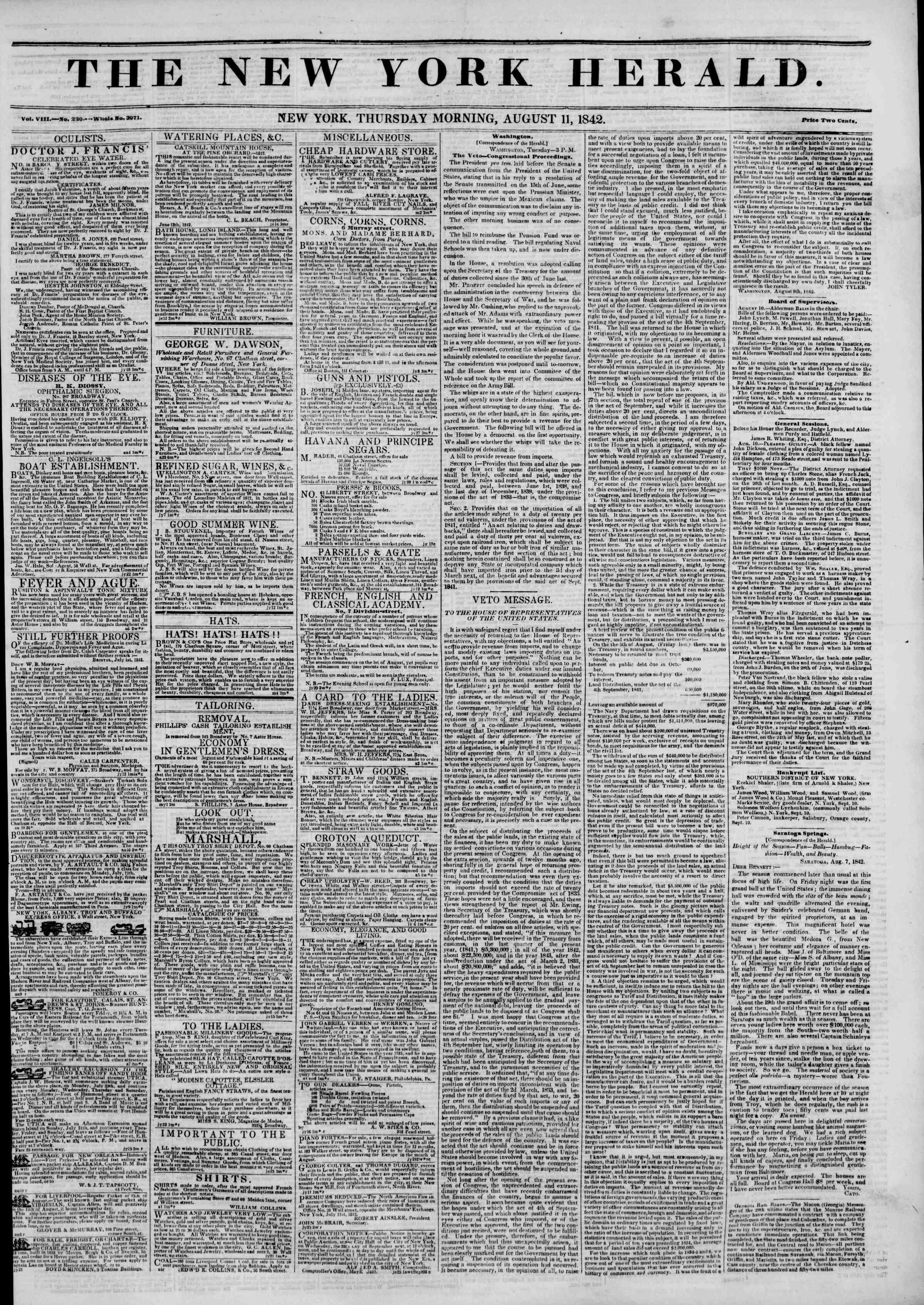 August 11, 1842 Tarihli The New York Herald Gazetesi Sayfa 1