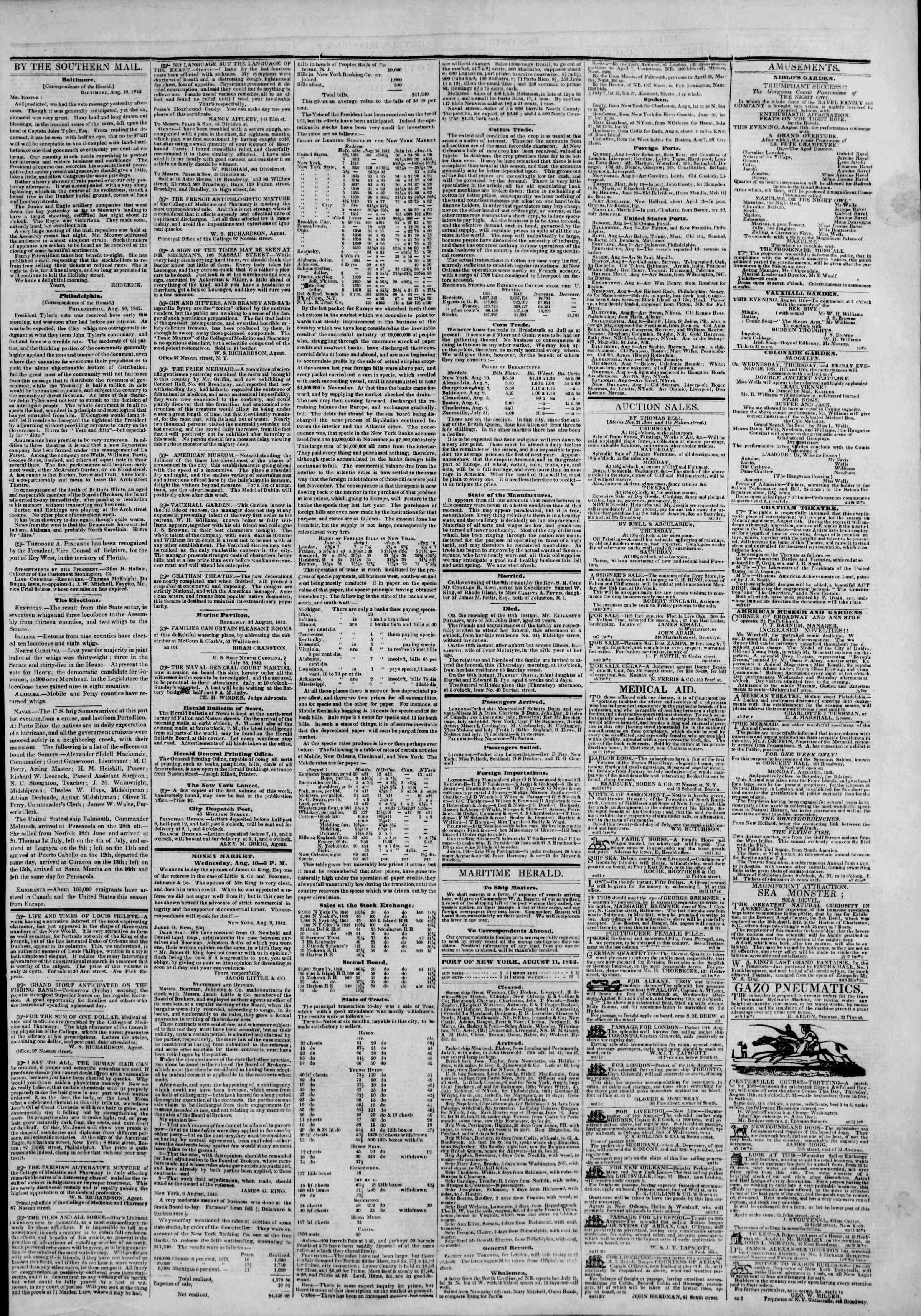 August 11, 1842 Tarihli The New York Herald Gazetesi Sayfa 3