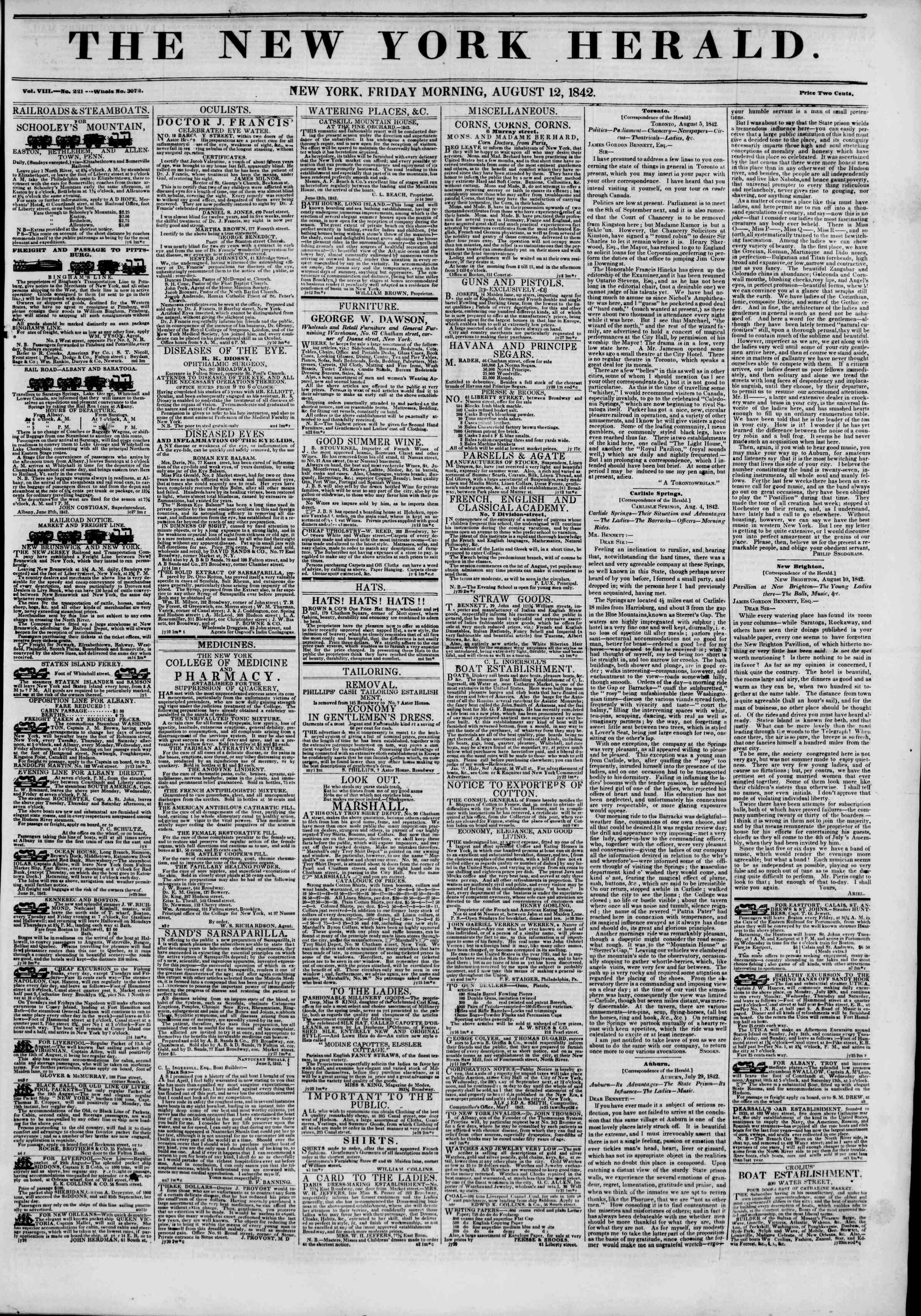 August 12, 1842 Tarihli The New York Herald Gazetesi Sayfa 1