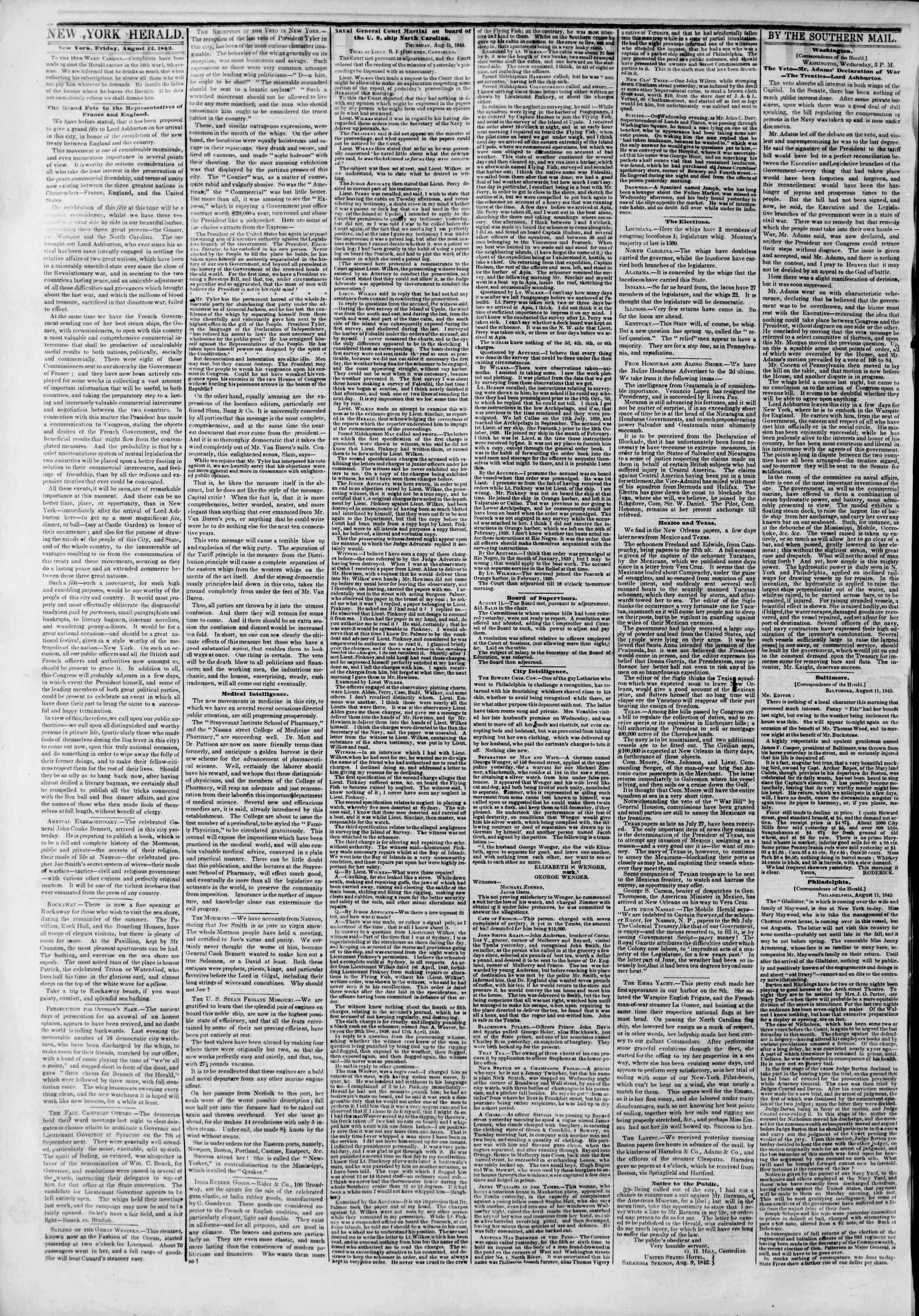 August 12, 1842 Tarihli The New York Herald Gazetesi Sayfa 2