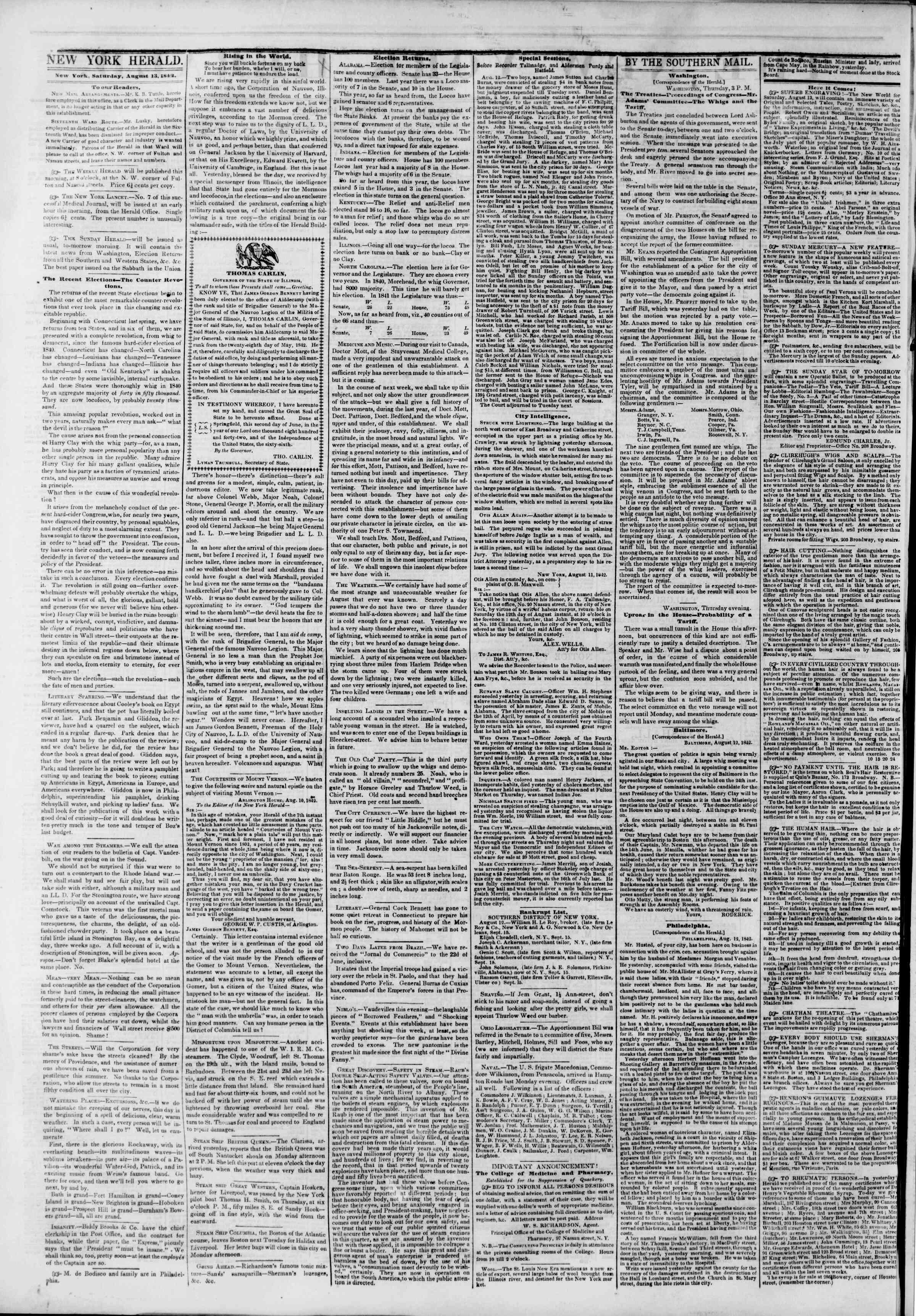 13 Ağustos 1842 tarihli The New York Herald Gazetesi Sayfa 2