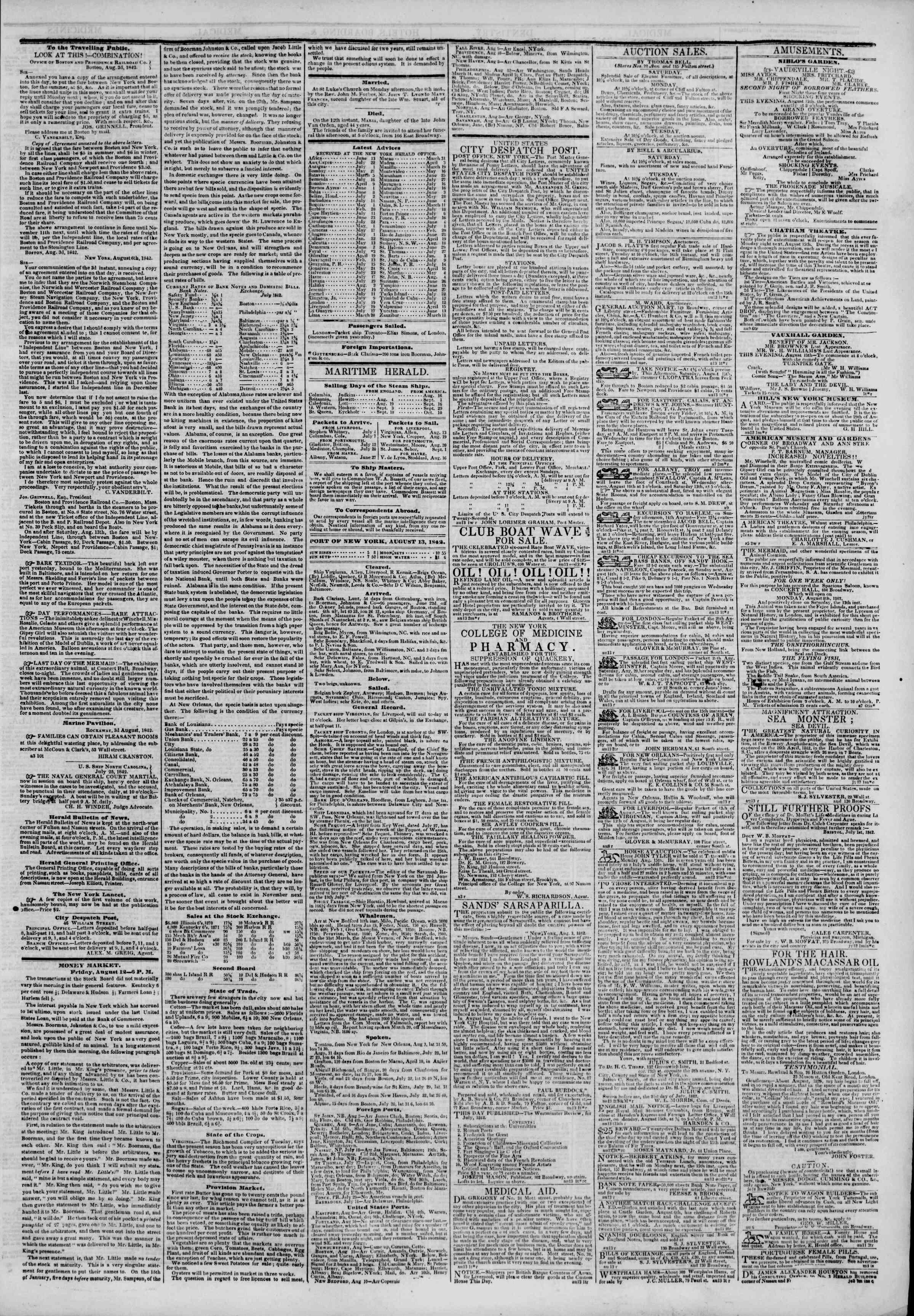 August 13, 1842 Tarihli The New York Herald Gazetesi Sayfa 3