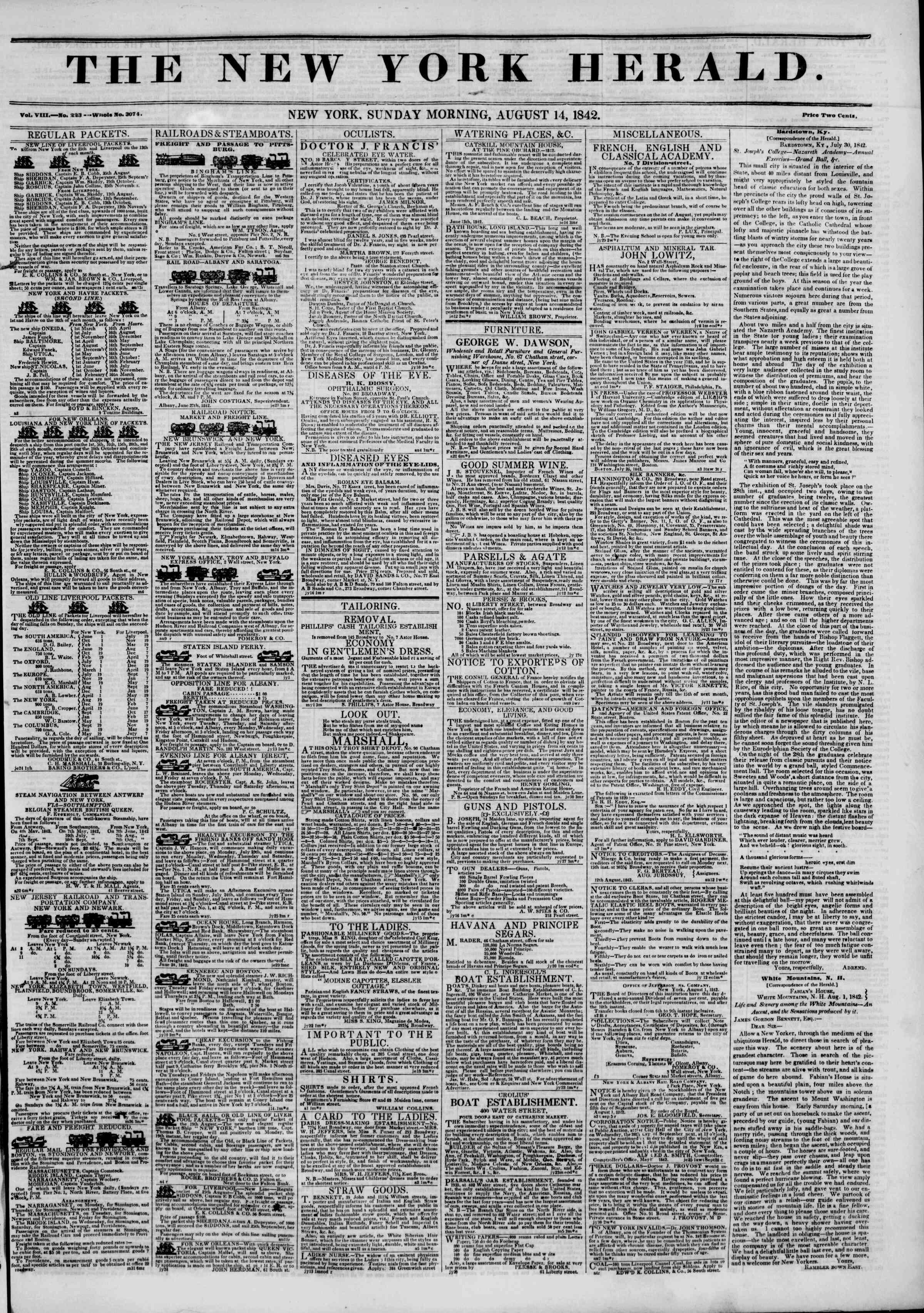 14 Ağustos 1842 Tarihli The New York Herald Gazetesi Sayfa 1