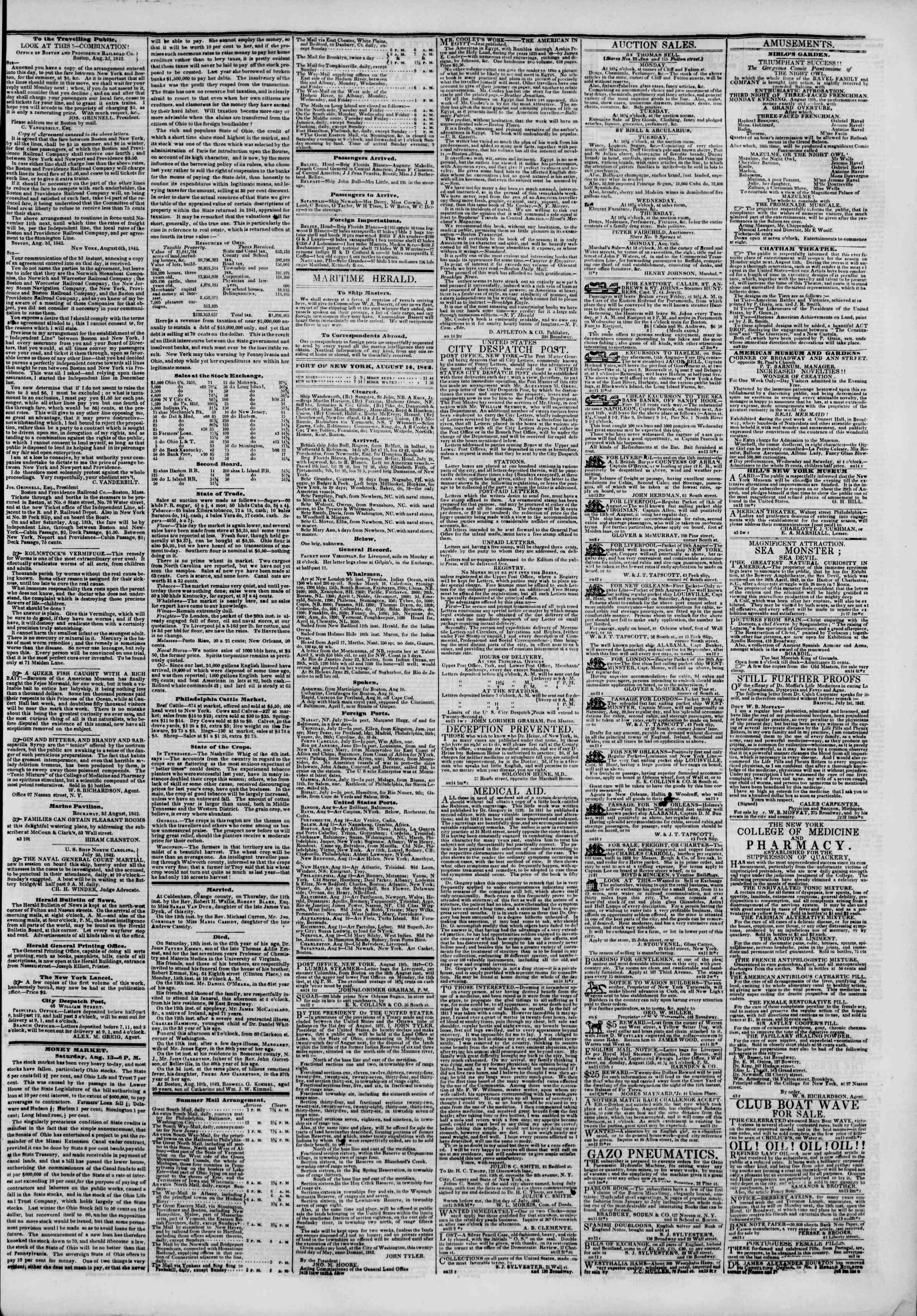 Newspaper of The New York Herald dated August 14, 1842 Page 3