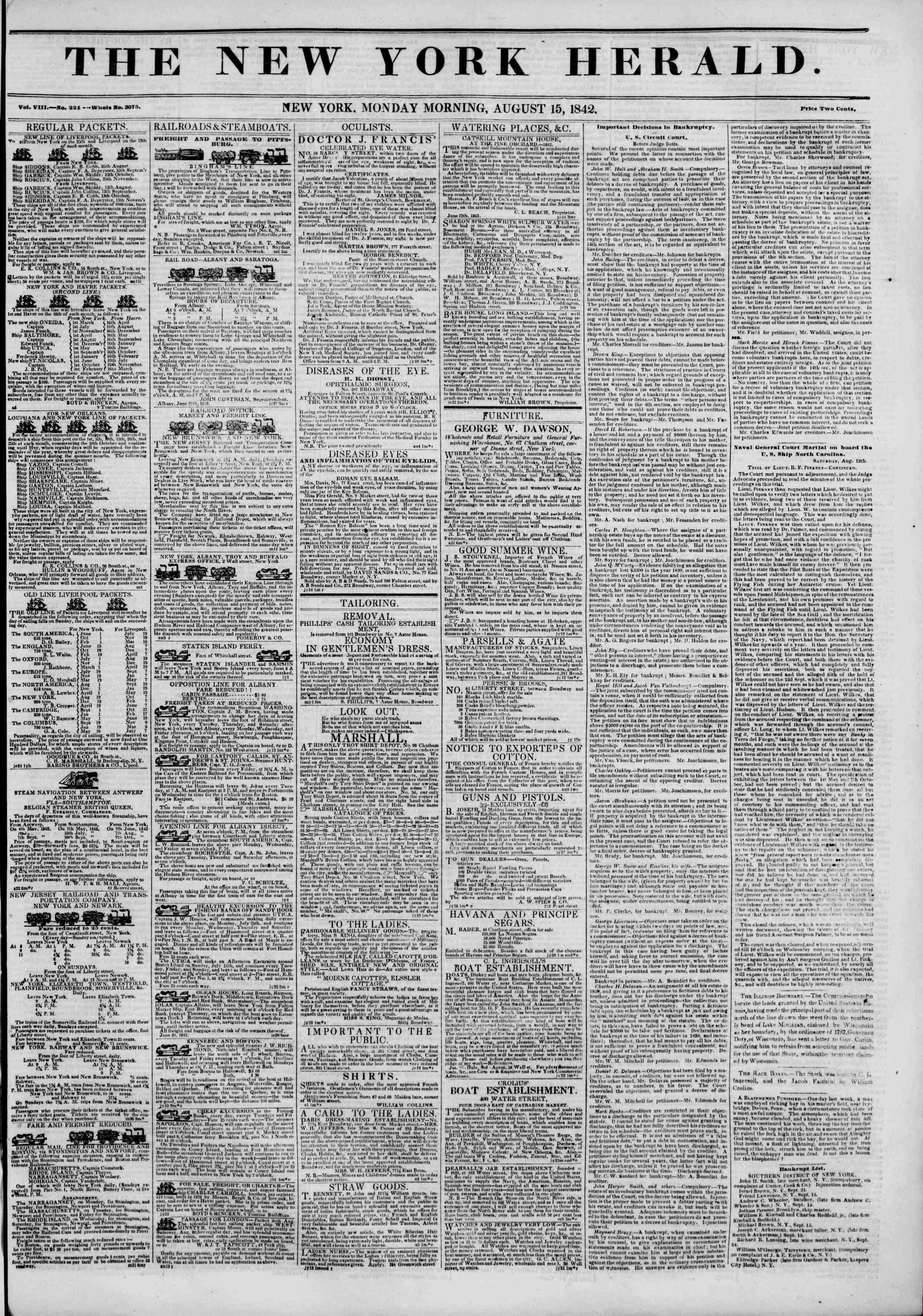August 15, 1842 Tarihli The New York Herald Gazetesi Sayfa 1