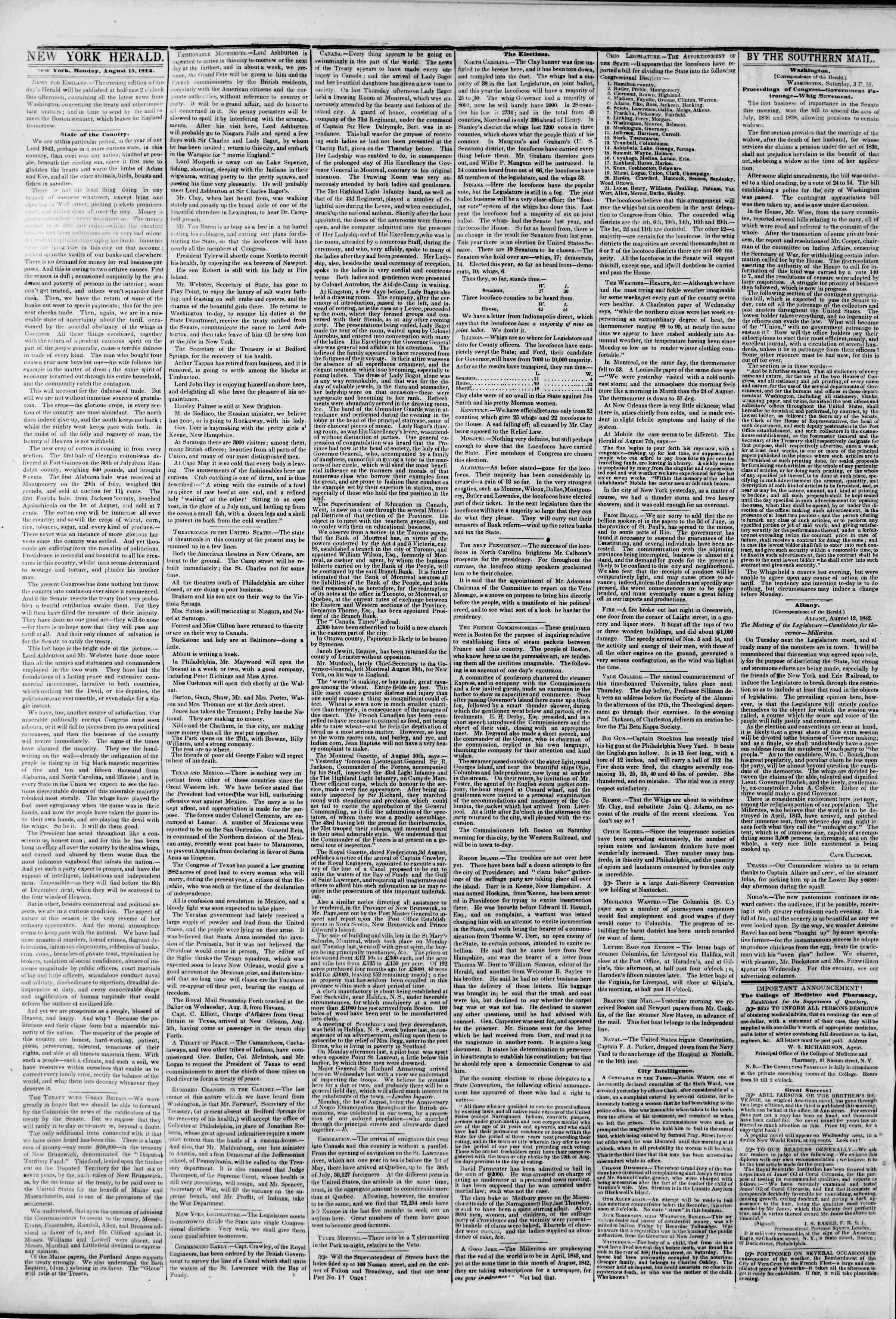 August 15, 1842 Tarihli The New York Herald Gazetesi Sayfa 2