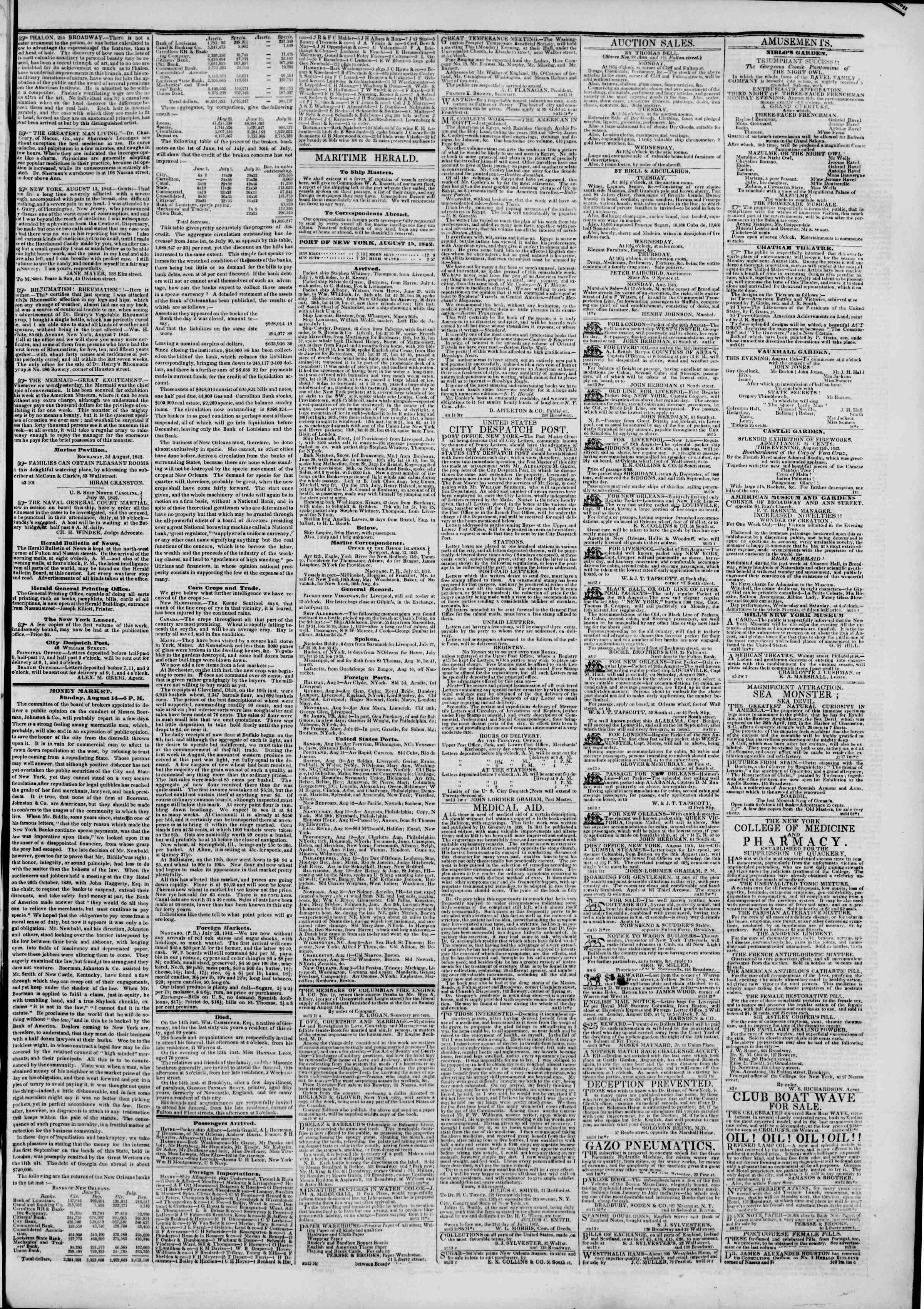 Newspaper of The New York Herald dated August 15, 1842 Page 3