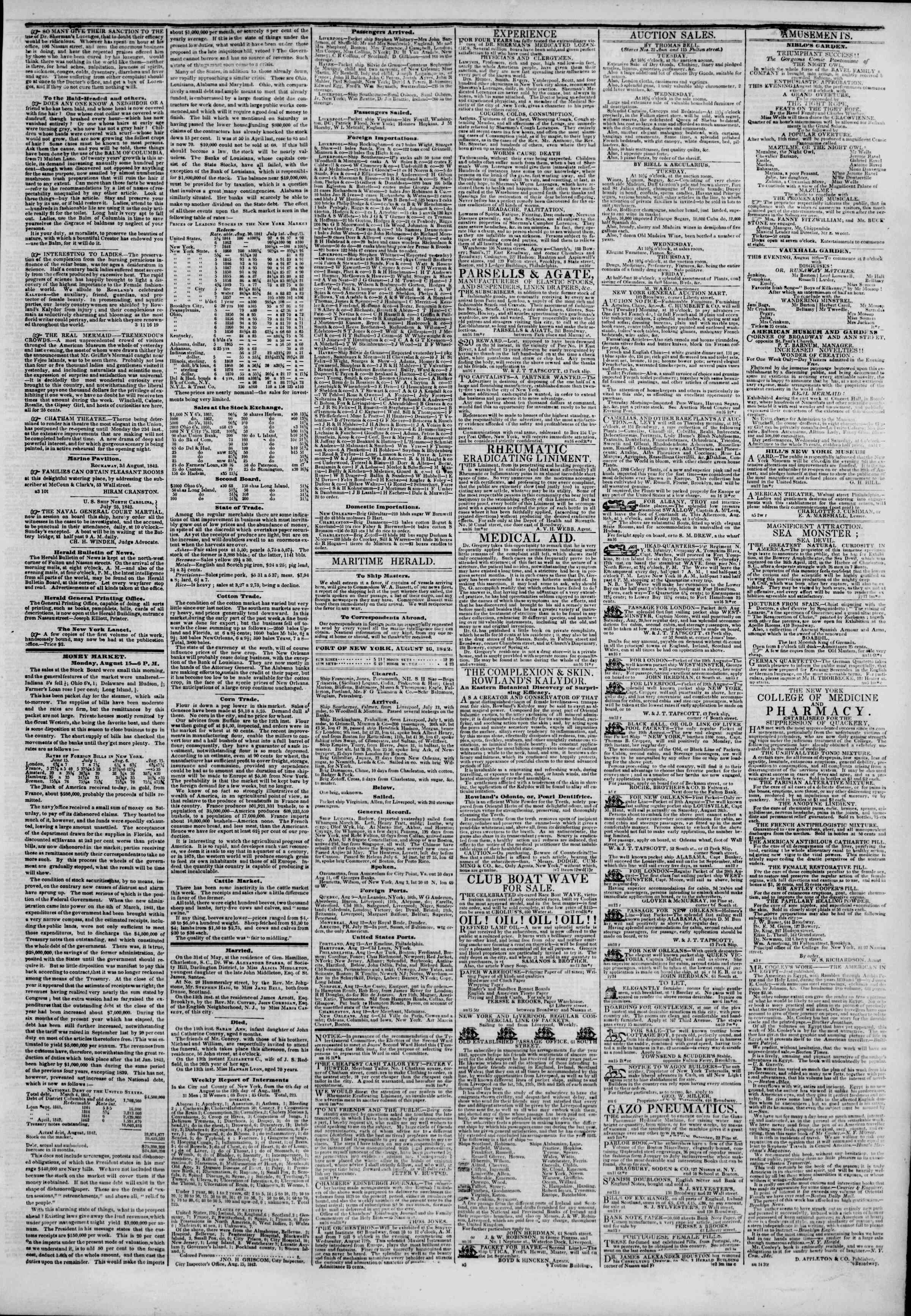 August 16, 1842 Tarihli The New York Herald Gazetesi Sayfa 3