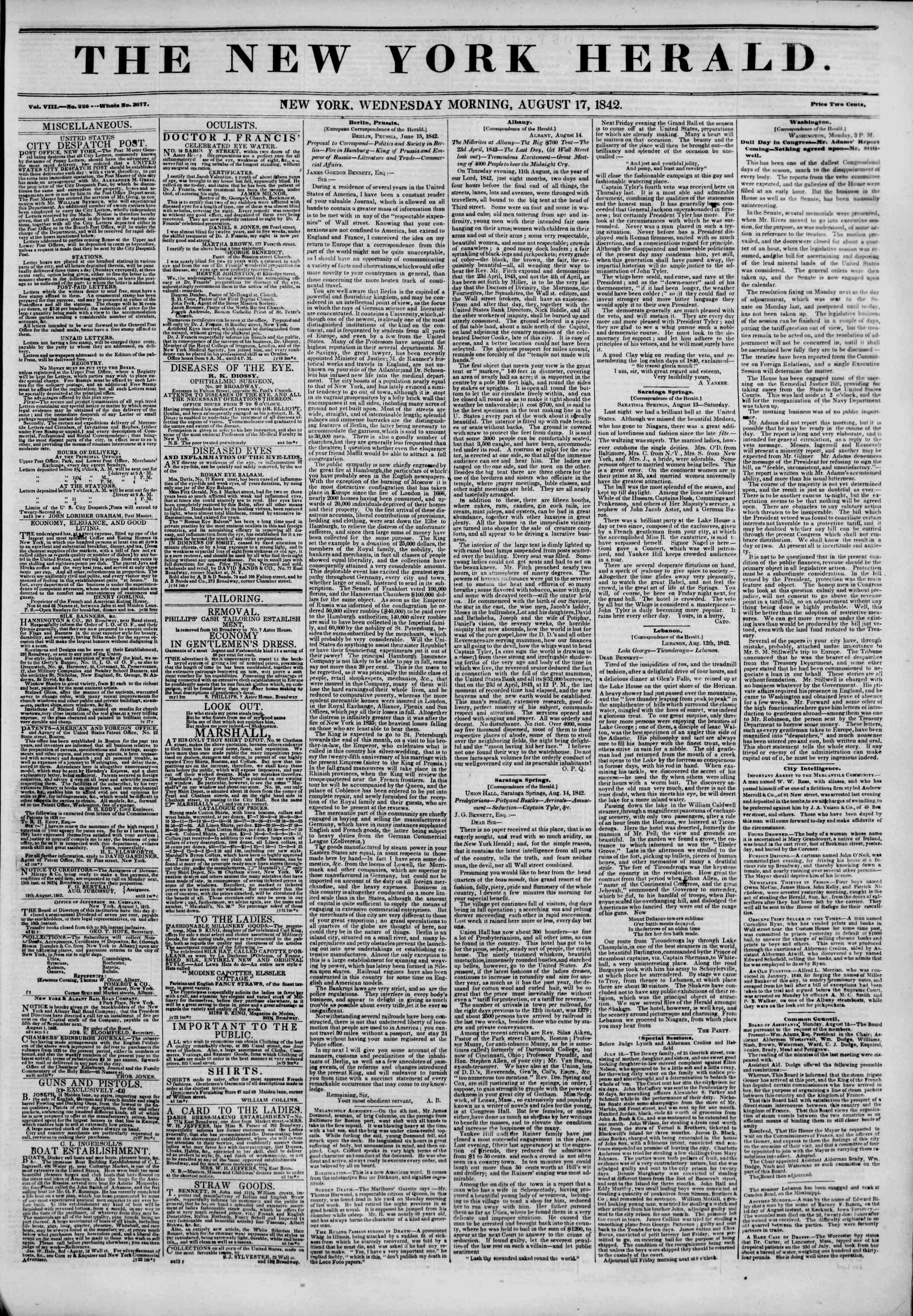 August 17, 1842 Tarihli The New York Herald Gazetesi Sayfa 1