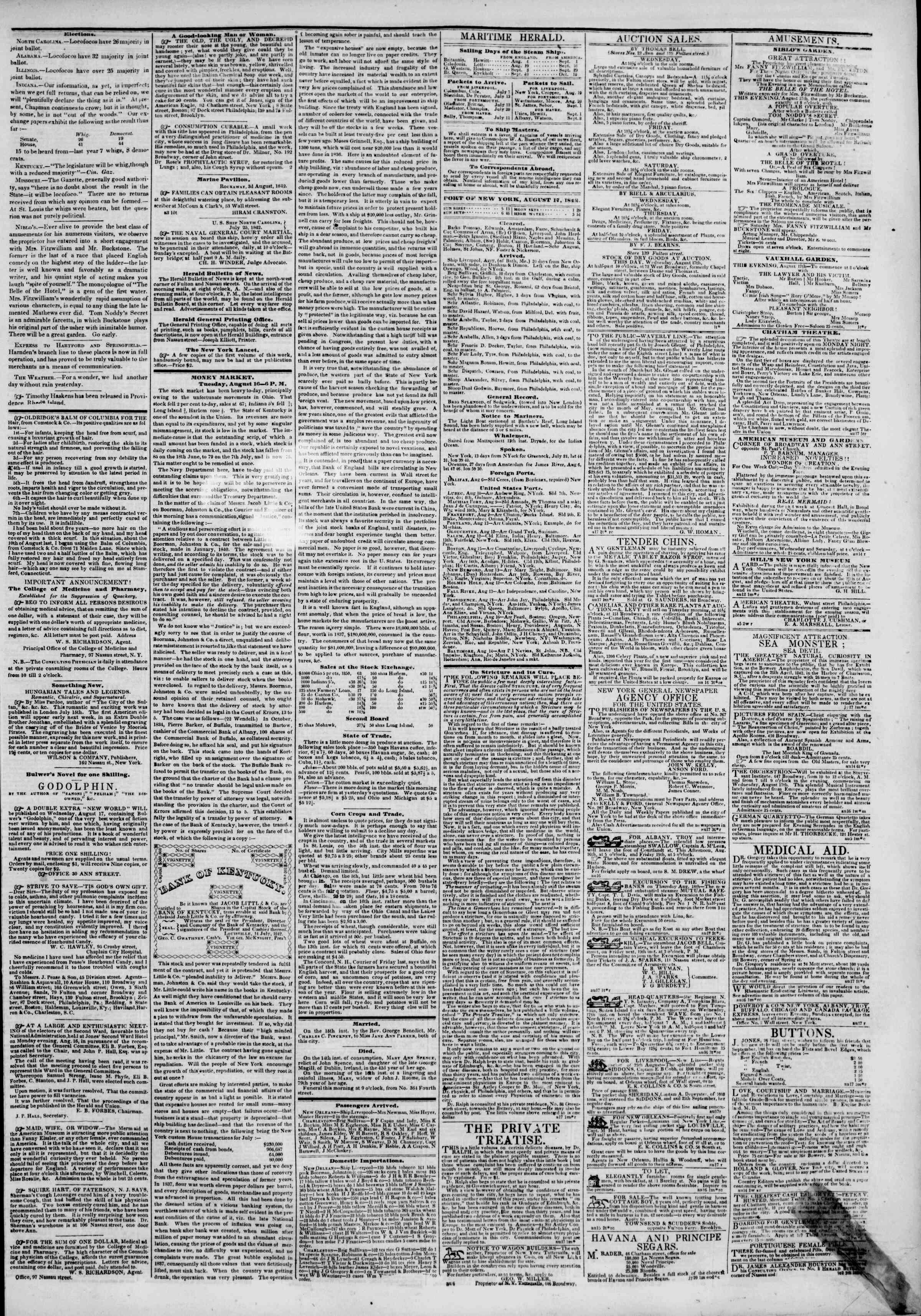 August 17, 1842 Tarihli The New York Herald Gazetesi Sayfa 3