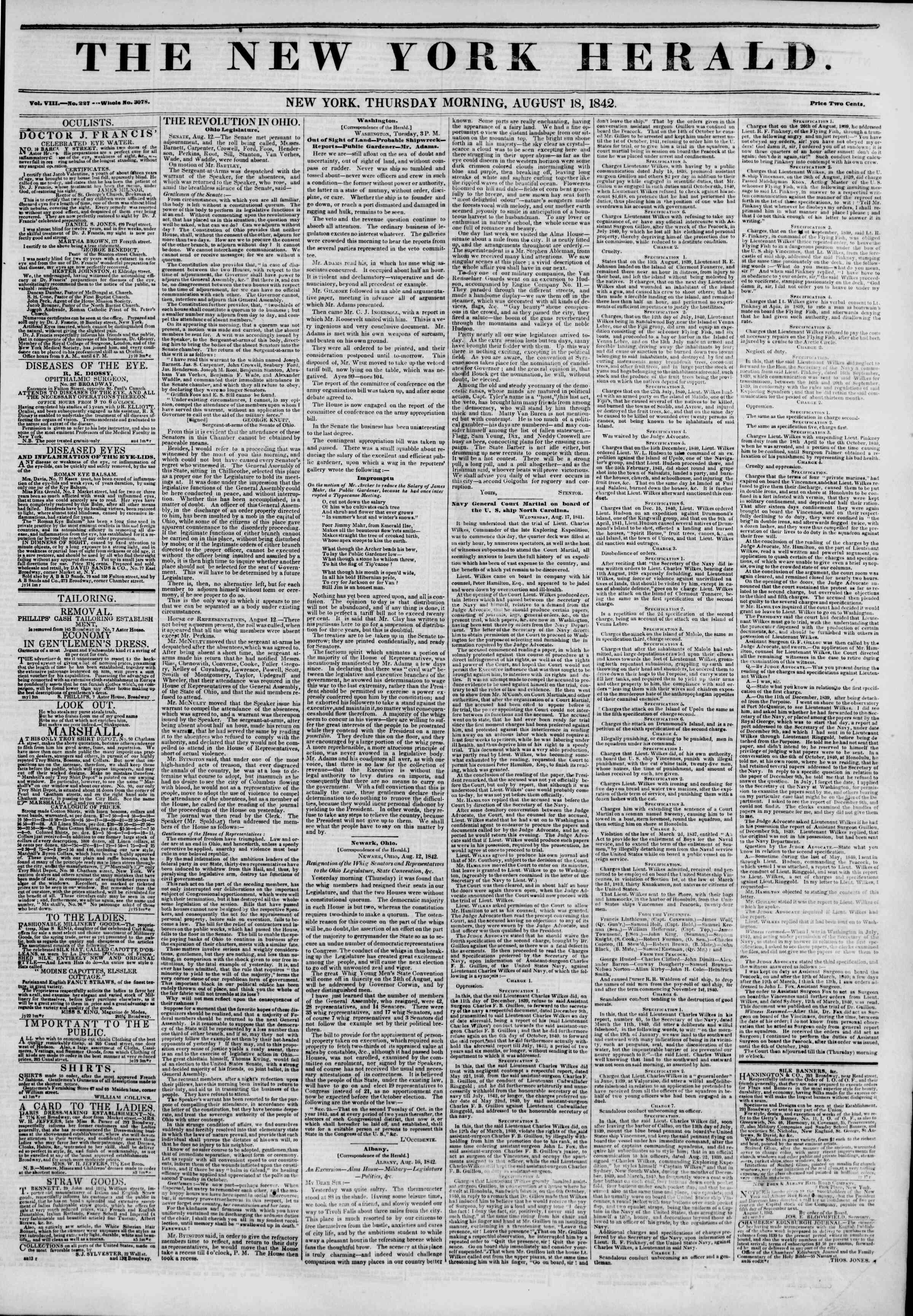 August 18, 1842 Tarihli The New York Herald Gazetesi Sayfa 1