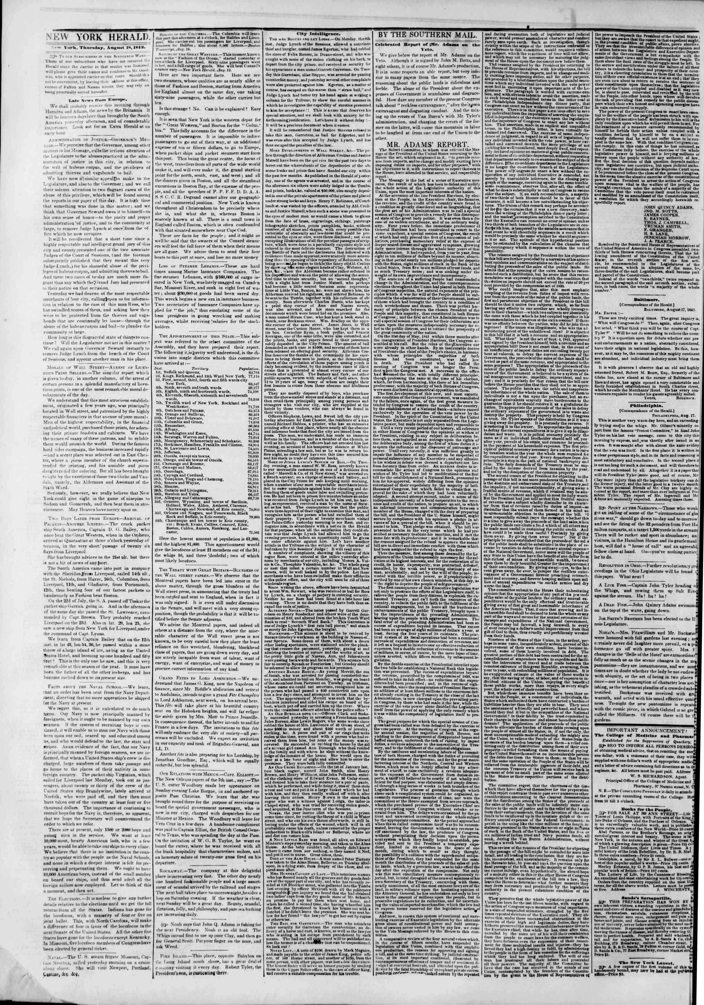 August 18, 1842 Tarihli The New York Herald Gazetesi Sayfa 2