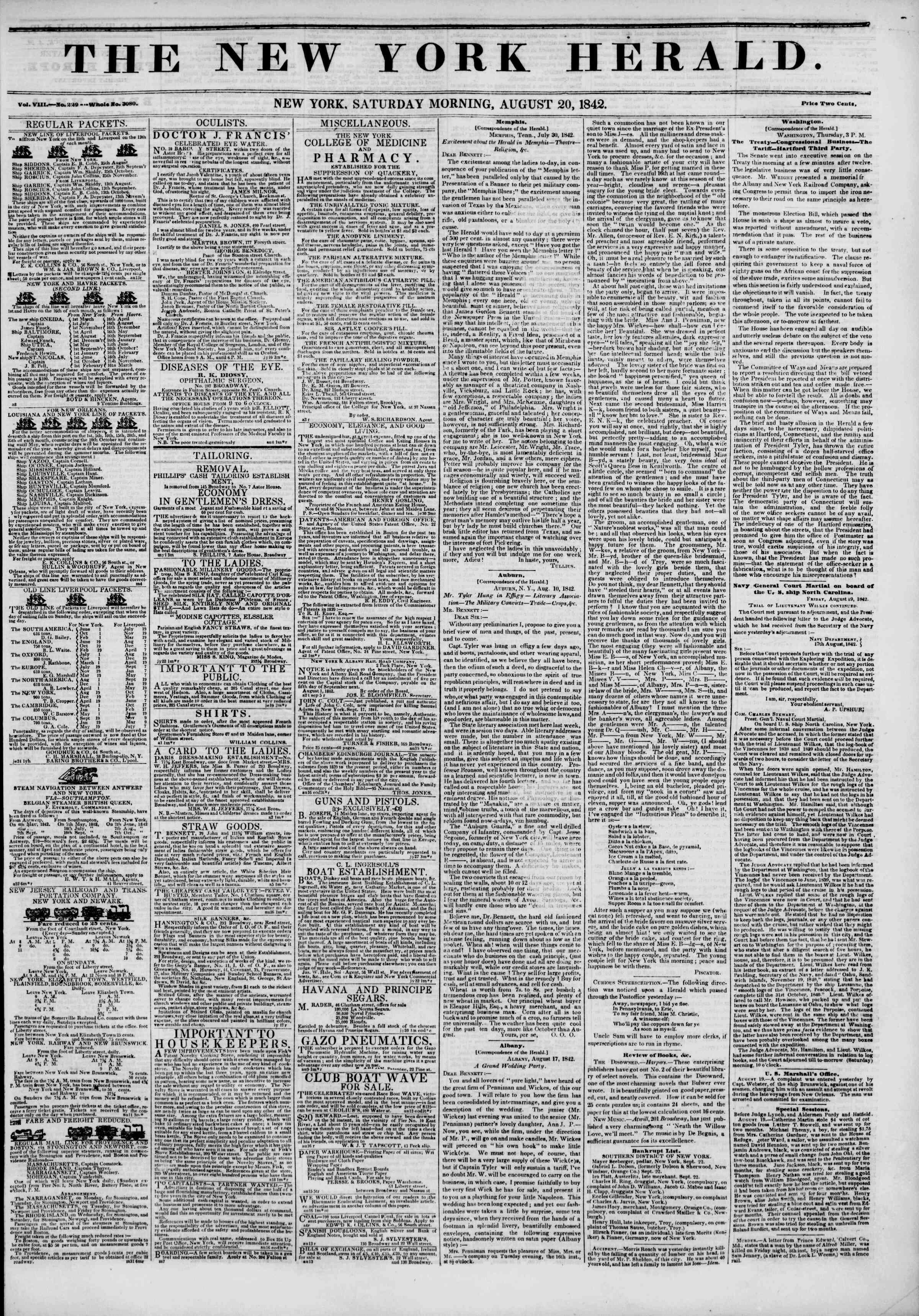 20 Ağustos 1842 tarihli The New York Herald Gazetesi Sayfa 1