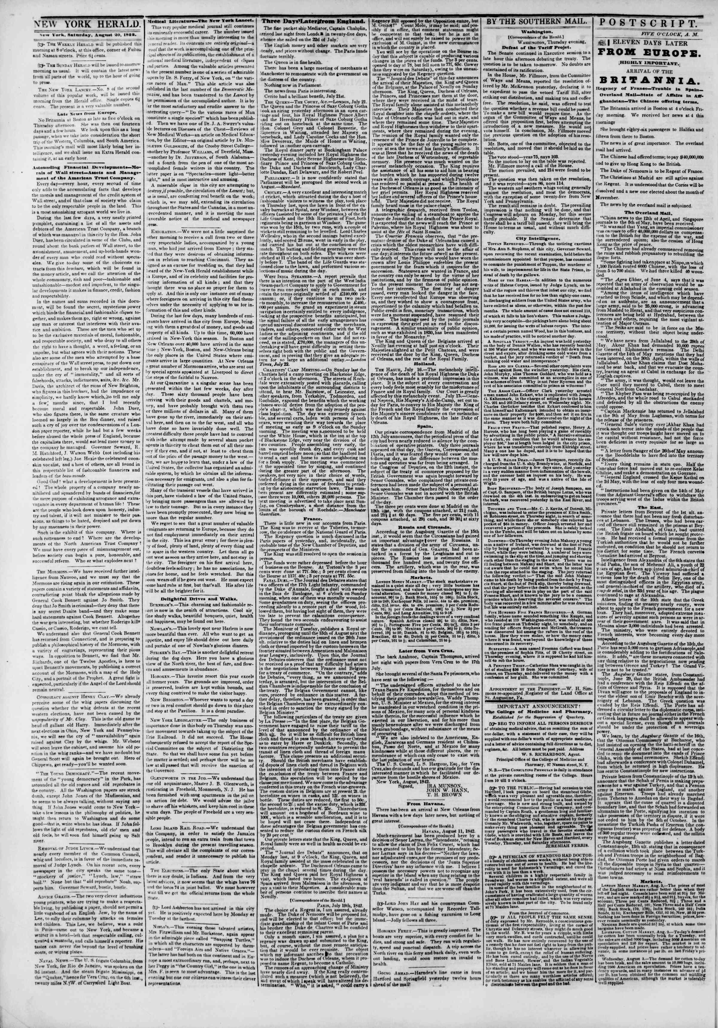 August 20, 1842 Tarihli The New York Herald Gazetesi Sayfa 2