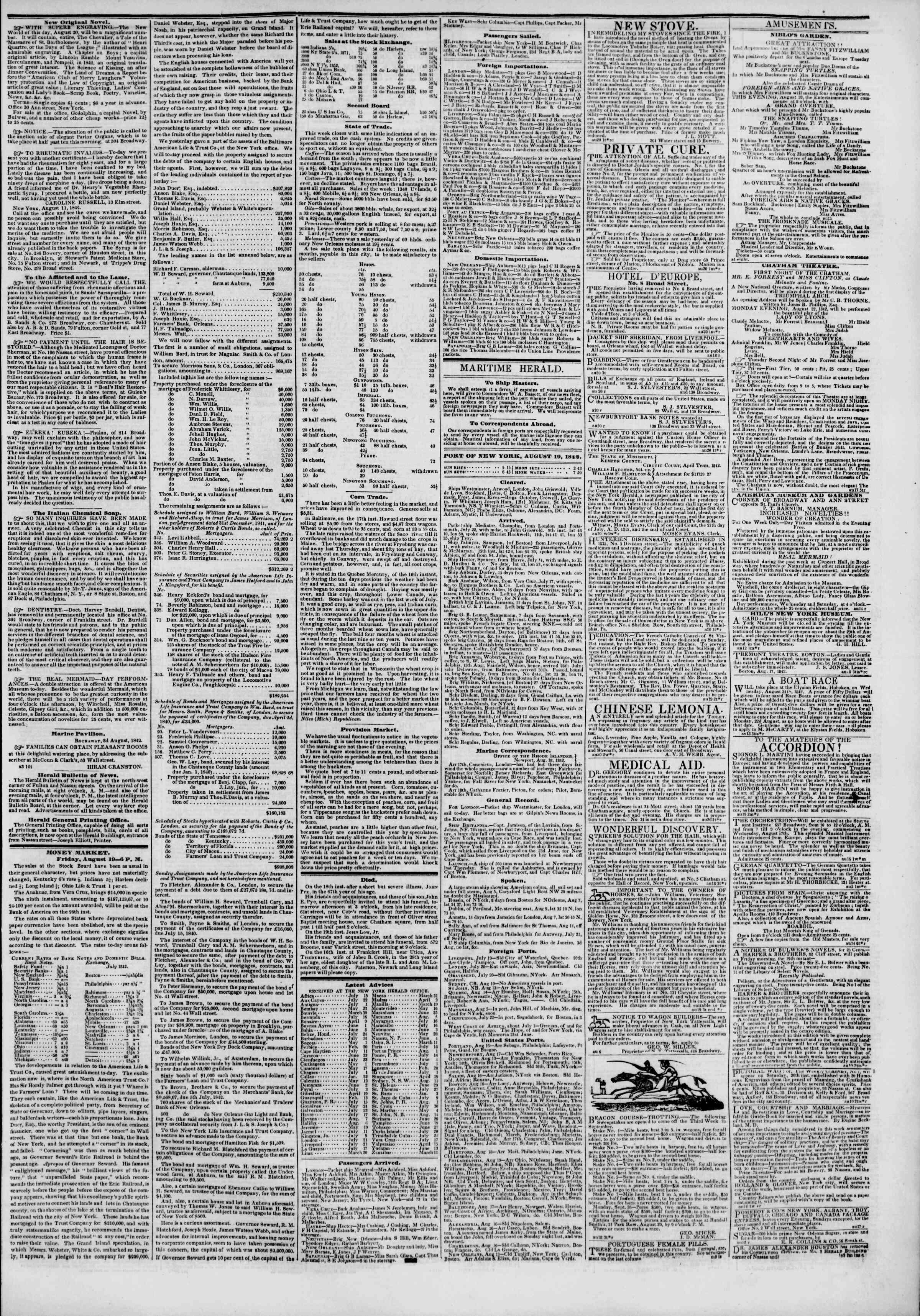 August 20, 1842 Tarihli The New York Herald Gazetesi Sayfa 3