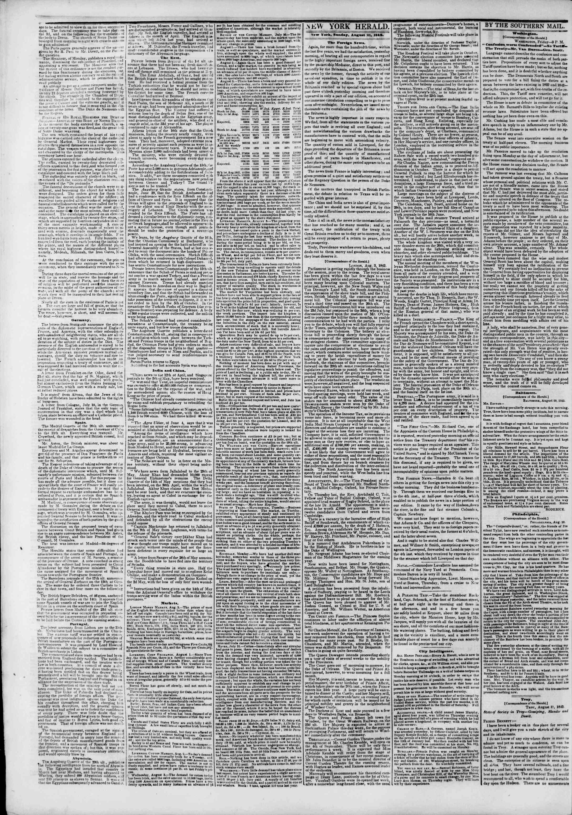 Newspaper of The New York Herald dated August 21, 1842 Page 2