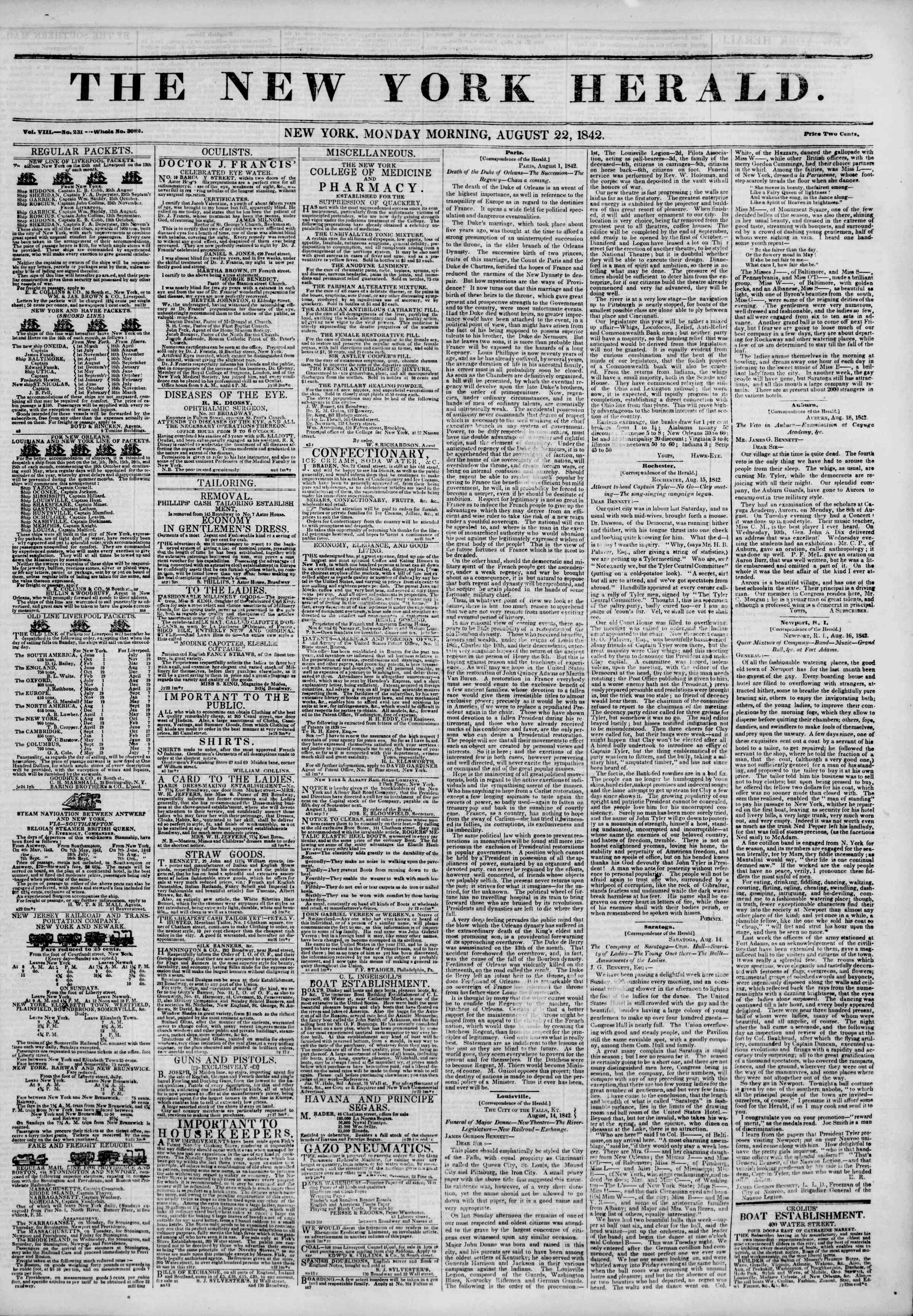 22 Ağustos 1842 Tarihli The New York Herald Gazetesi Sayfa 1