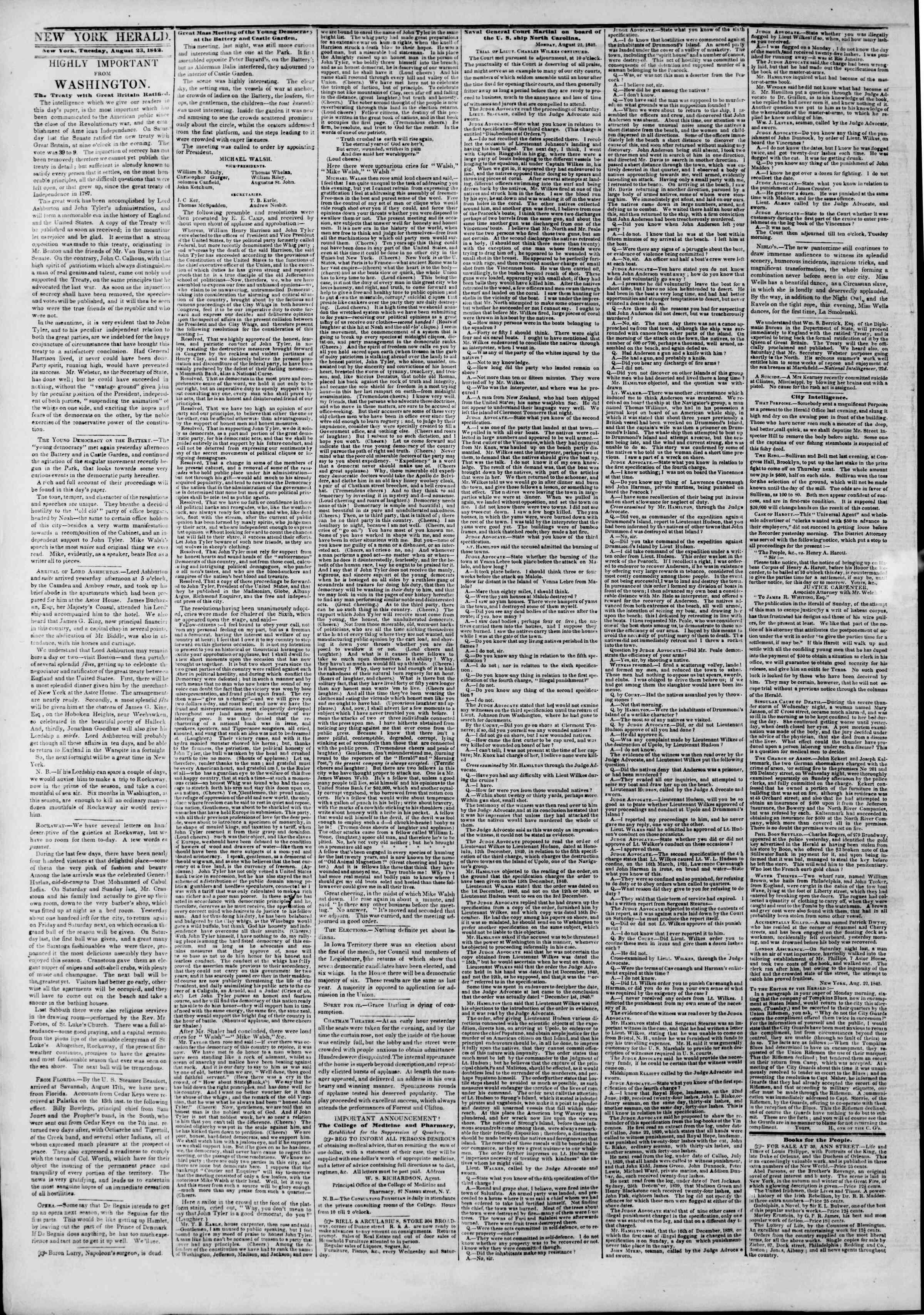 August 23, 1842 Tarihli The New York Herald Gazetesi Sayfa 2