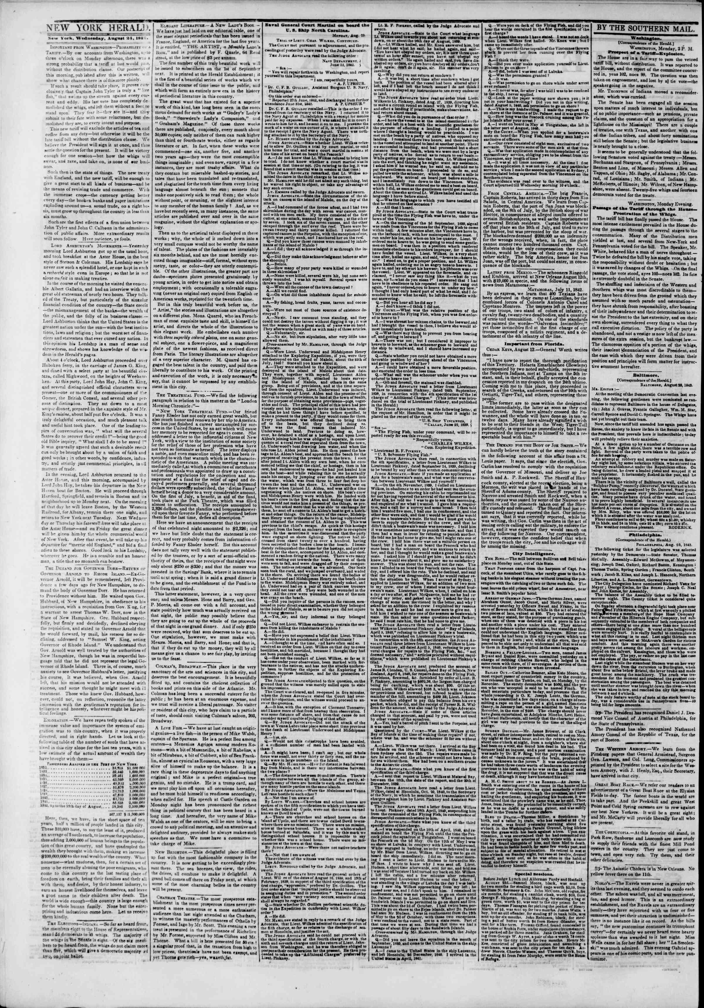 24 Ağustos 1842 tarihli The New York Herald Gazetesi Sayfa 2