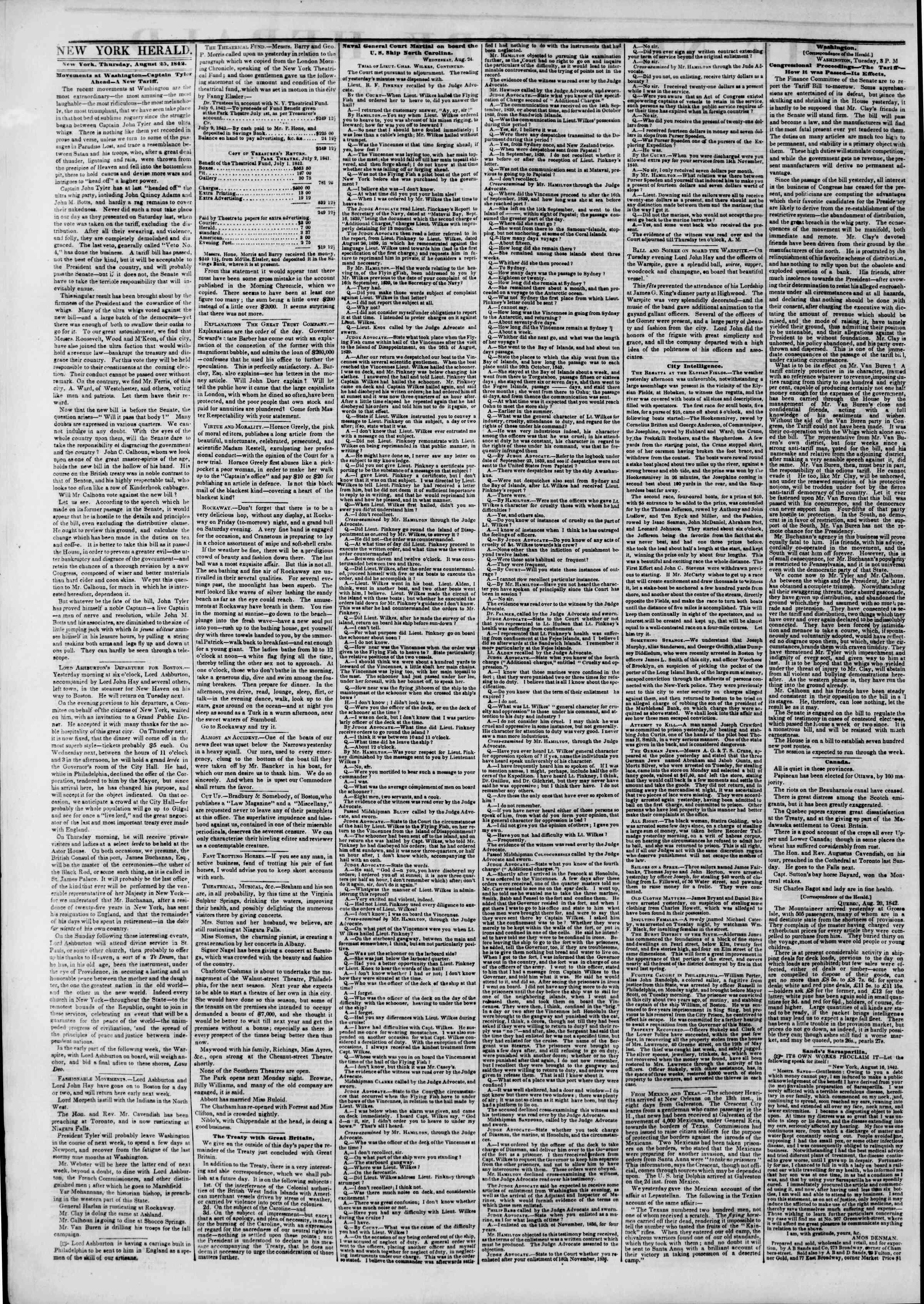 August 25, 1842 Tarihli The New York Herald Gazetesi Sayfa 2