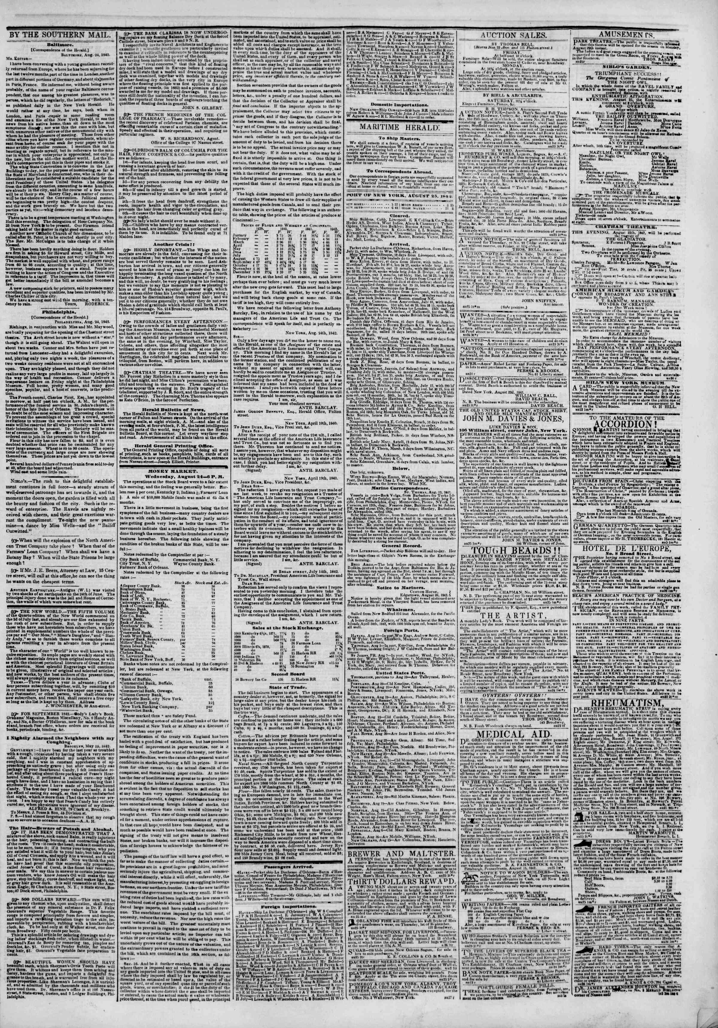 August 25, 1842 Tarihli The New York Herald Gazetesi Sayfa 3