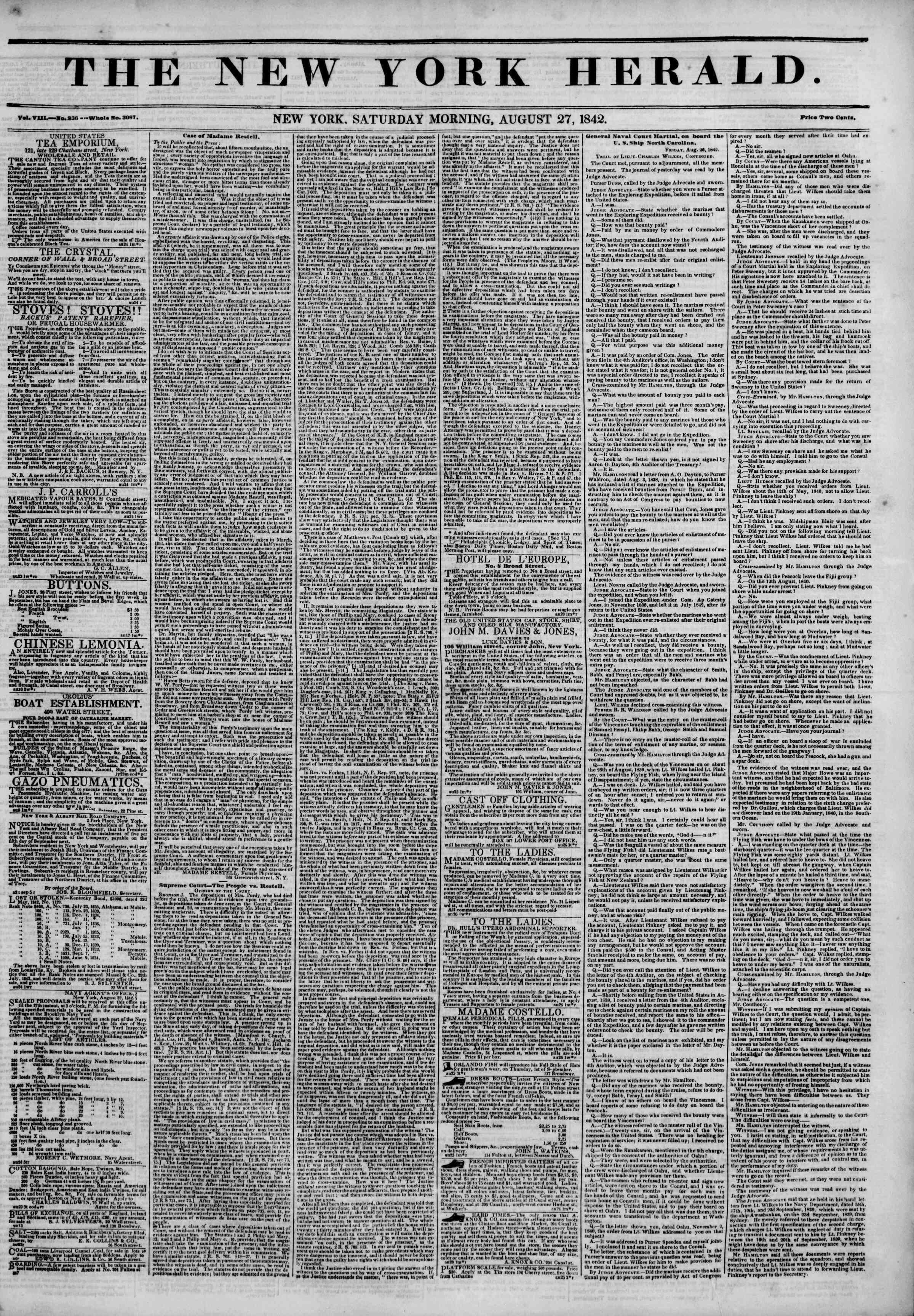 August 27, 1842 Tarihli The New York Herald Gazetesi Sayfa 1