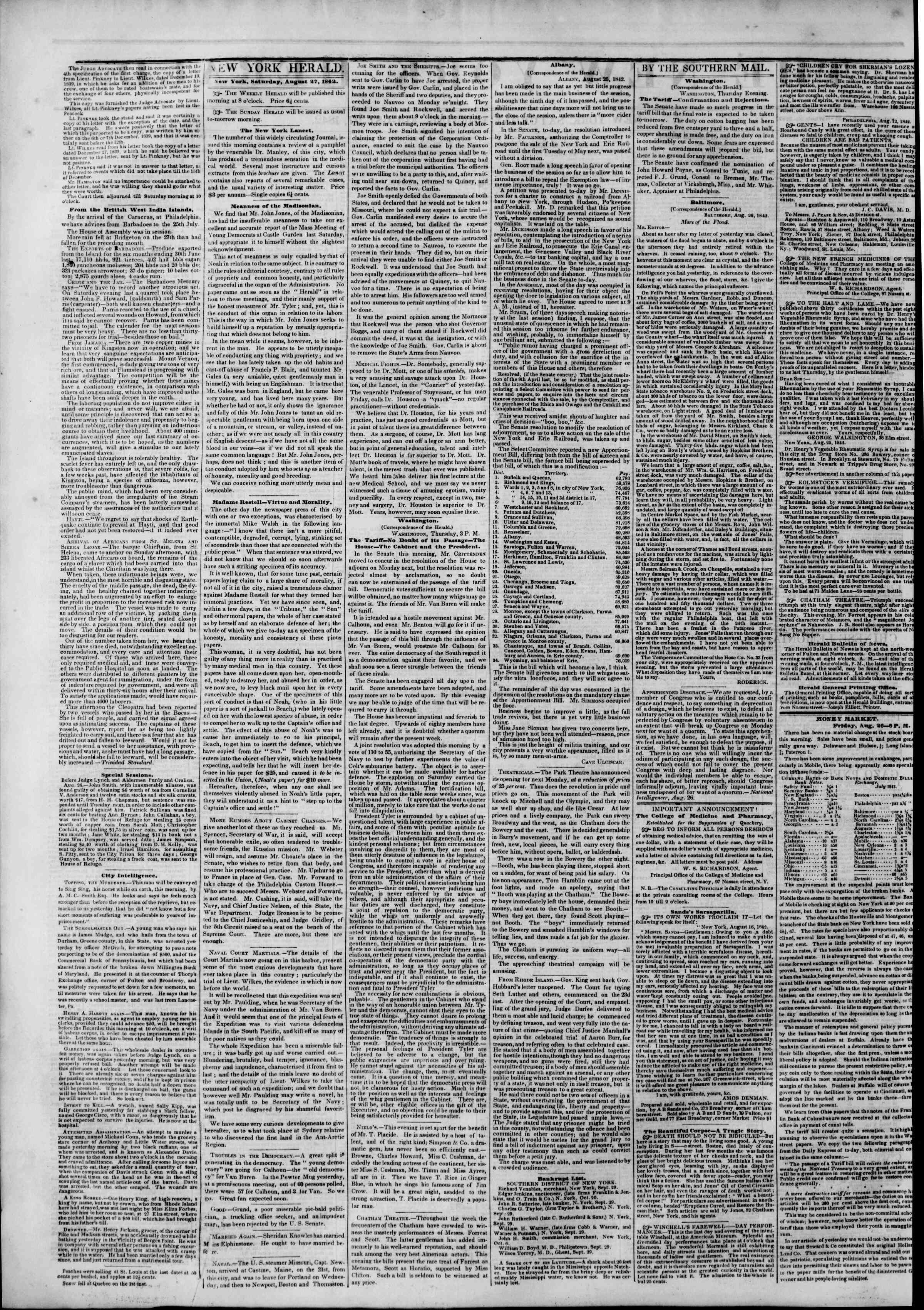 Newspaper of The New York Herald dated August 27, 1842 Page 2