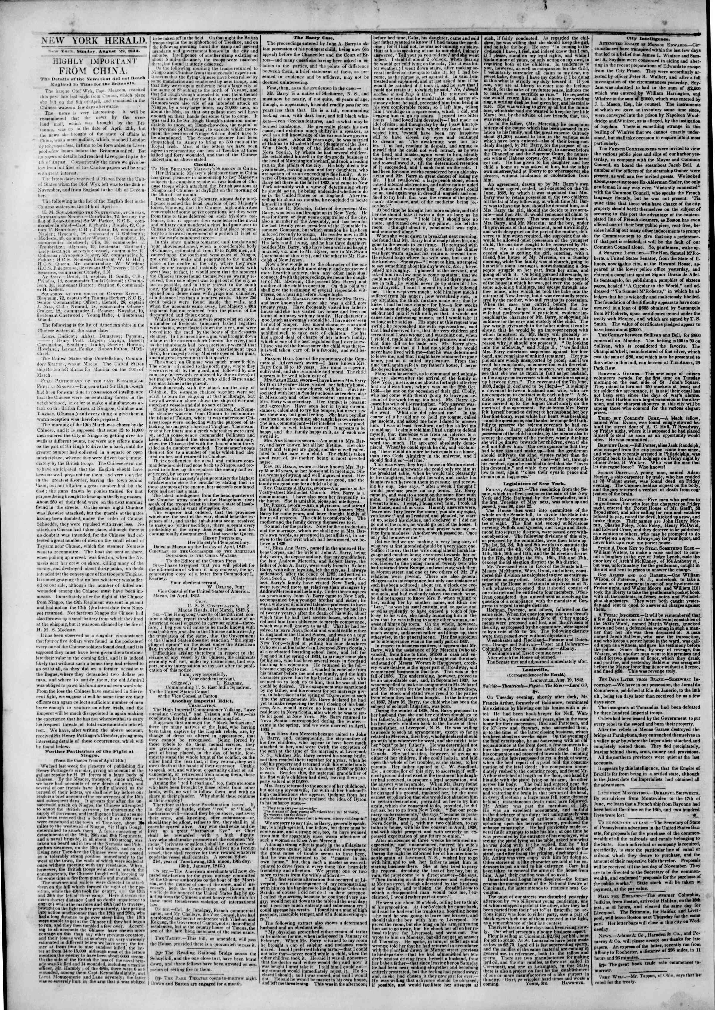 Newspaper of The New York Herald dated August 28, 1842 Page 2