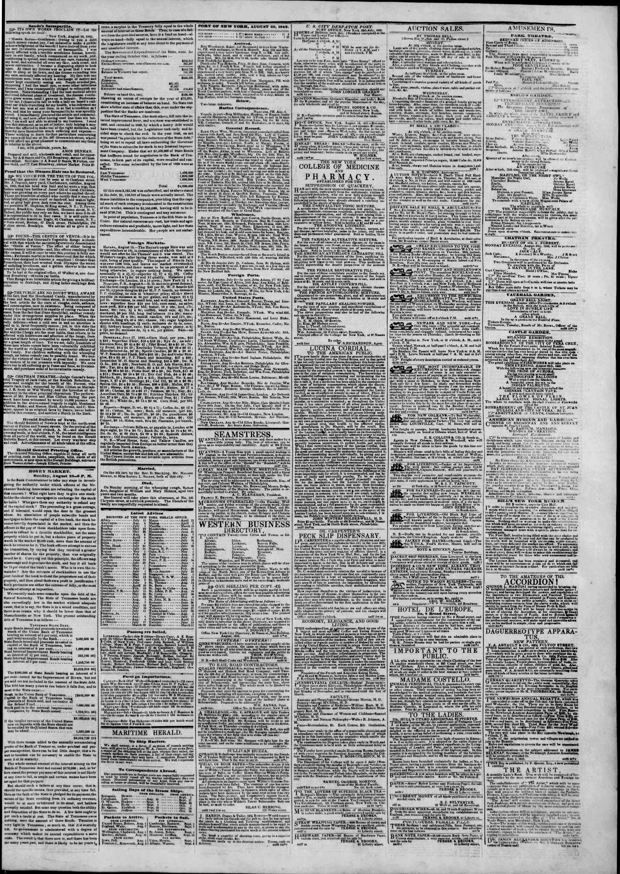 Newspaper of The New York Herald dated August 29, 1842 Page 3