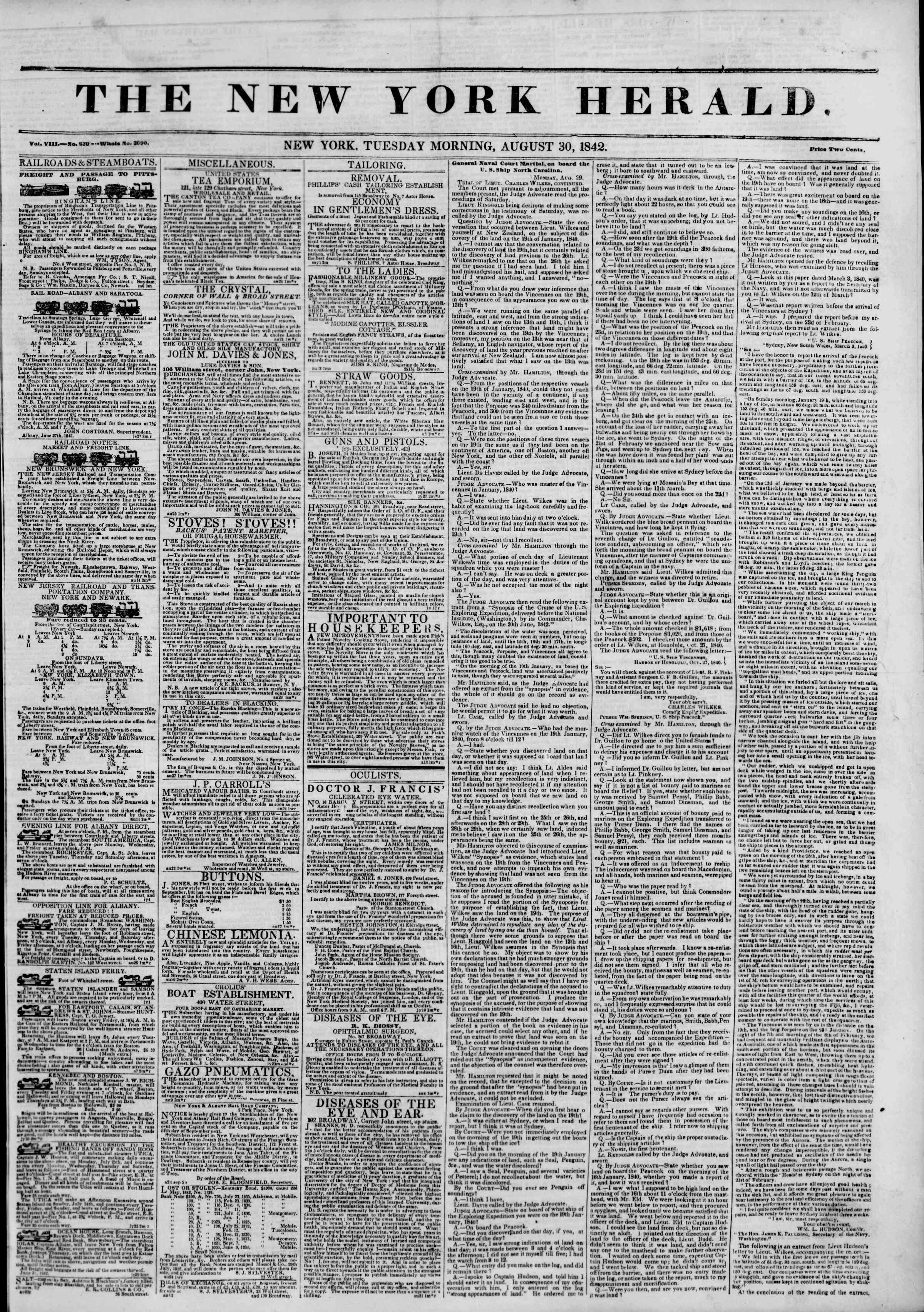 Newspaper of The New York Herald dated August 30, 1842 Page 1