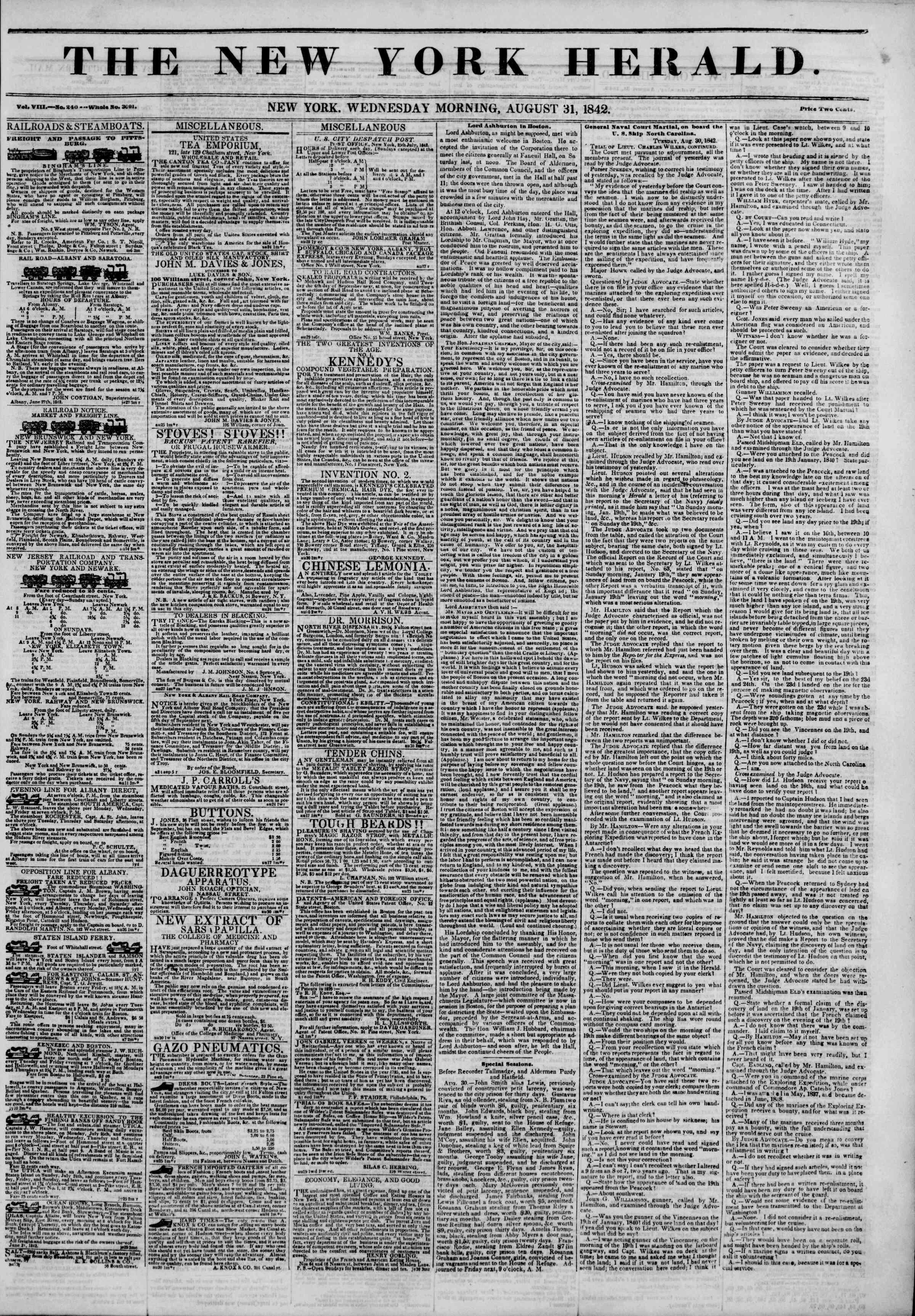31 Ağustos 1842 Tarihli The New York Herald Gazetesi Sayfa 1
