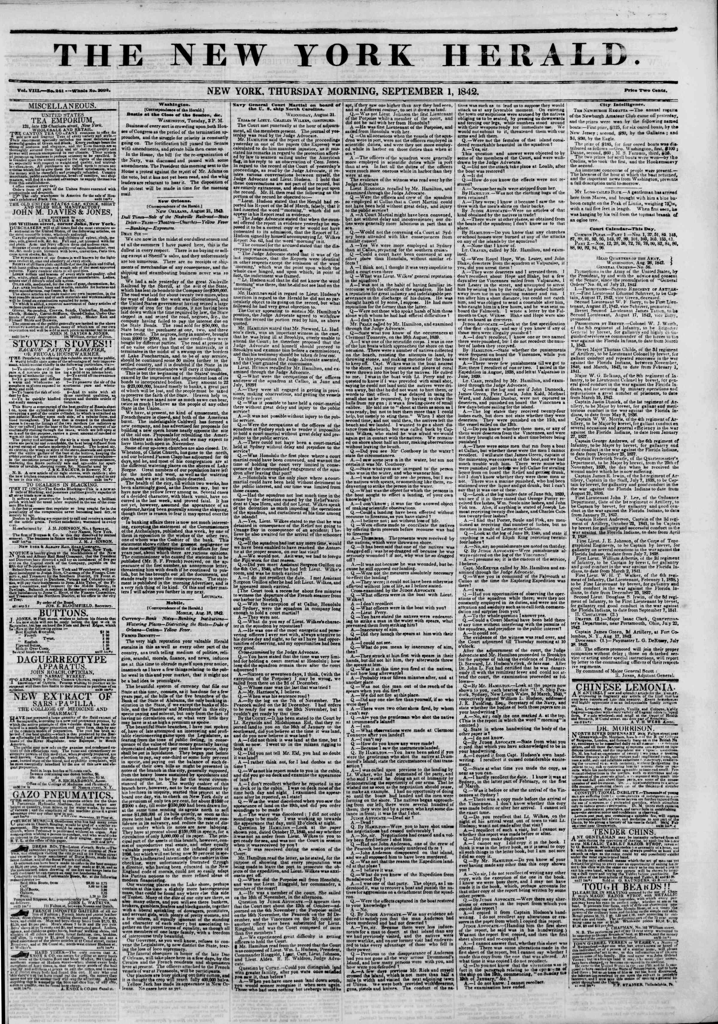September 1, 1842 Tarihli The New York Herald Gazetesi Sayfa 1