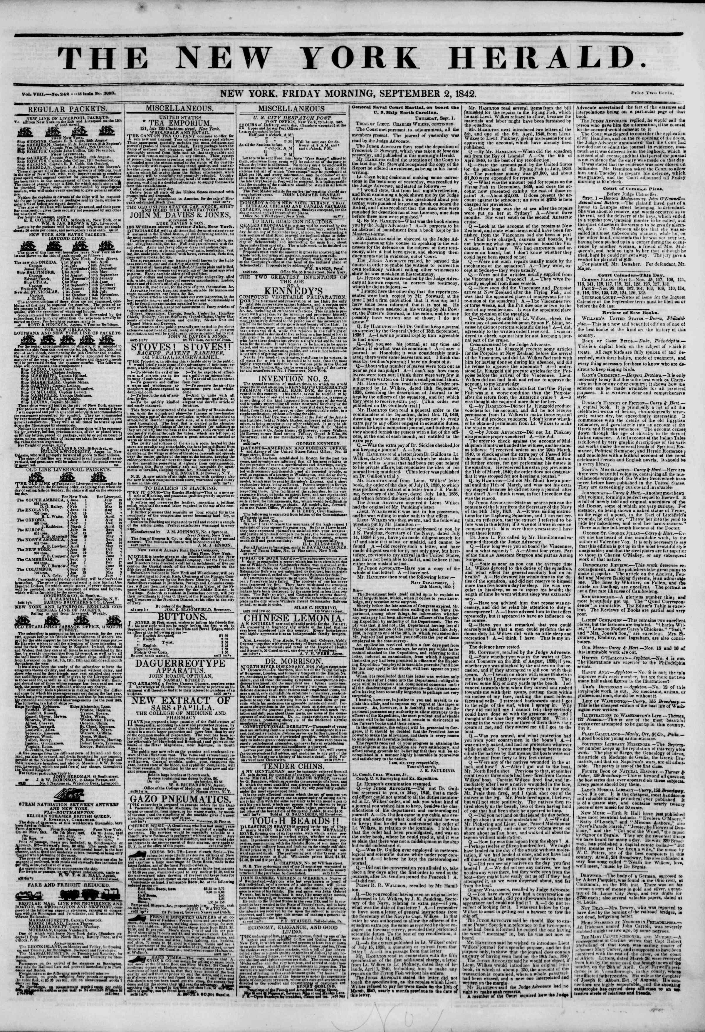 September 2, 1842 Tarihli The New York Herald Gazetesi Sayfa 1