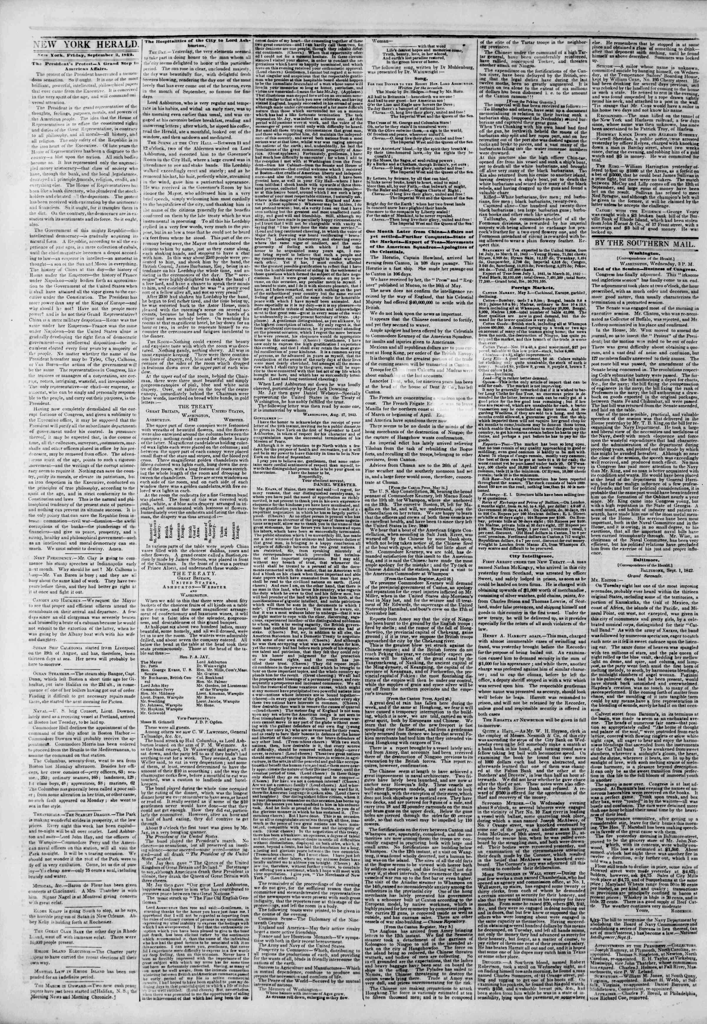 September 2, 1842 Tarihli The New York Herald Gazetesi Sayfa 2