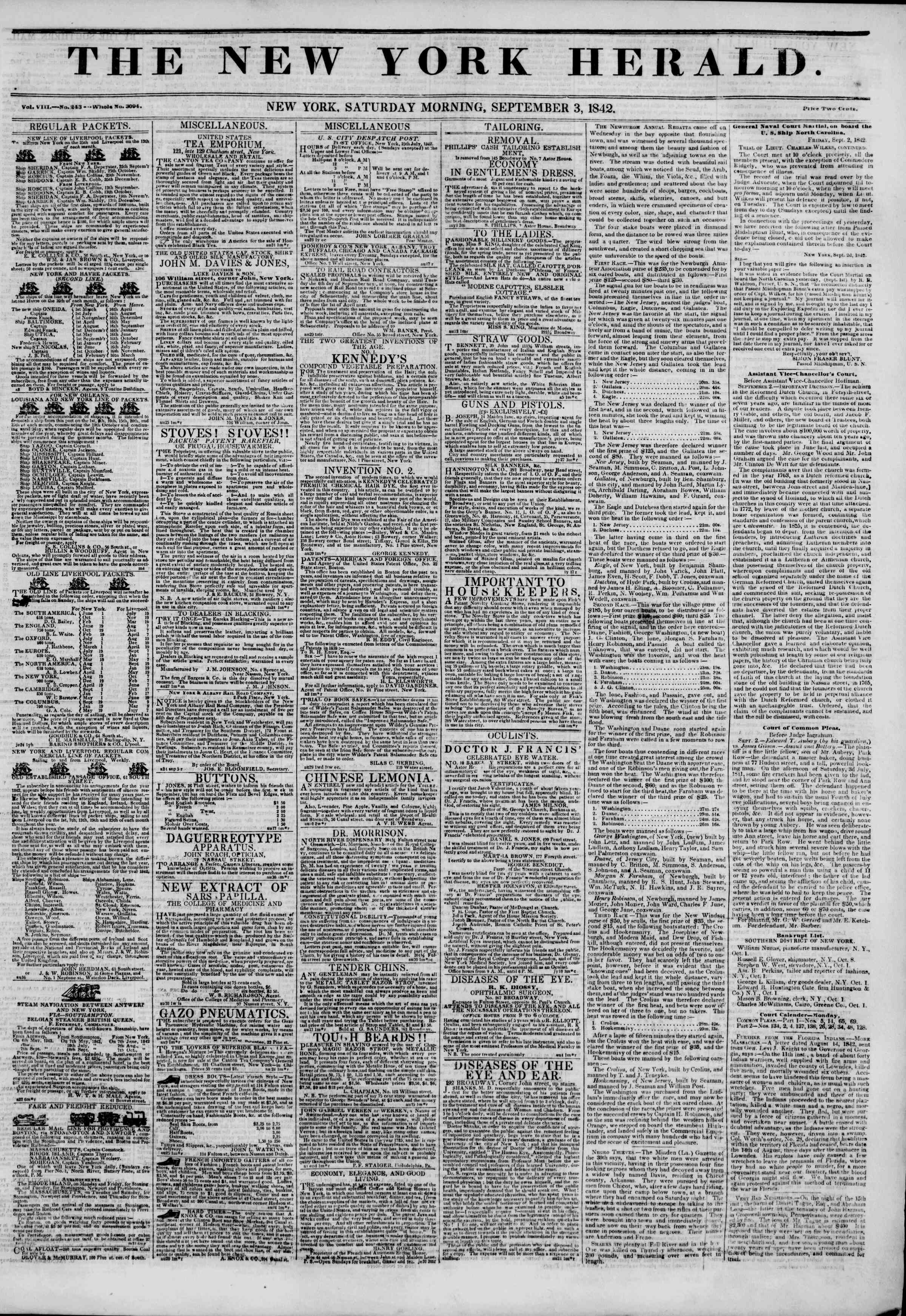 Newspaper of The New York Herald dated September 3, 1842 Page 1