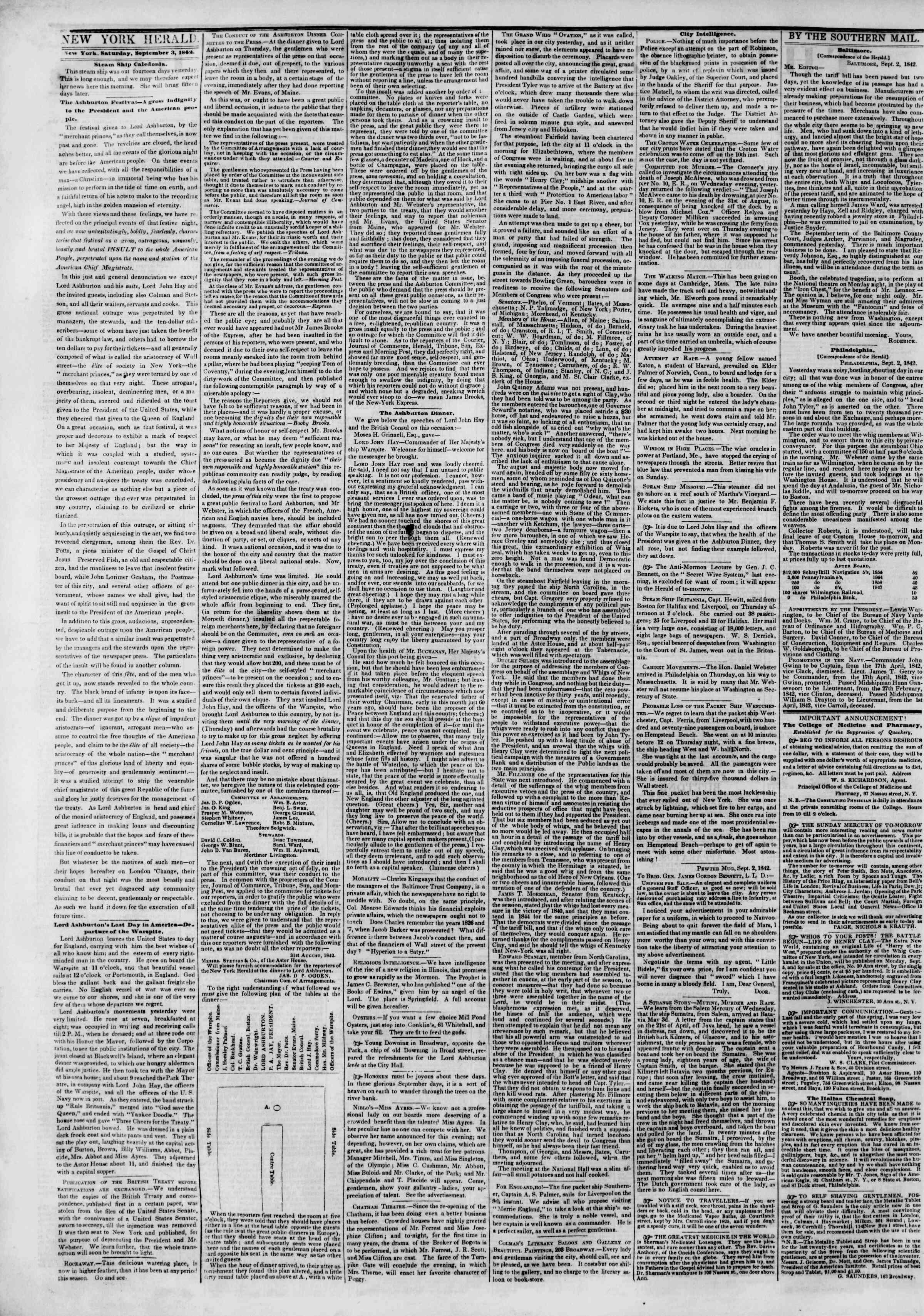 3 Eylül 1842 Tarihli The New York Herald Gazetesi Sayfa 2