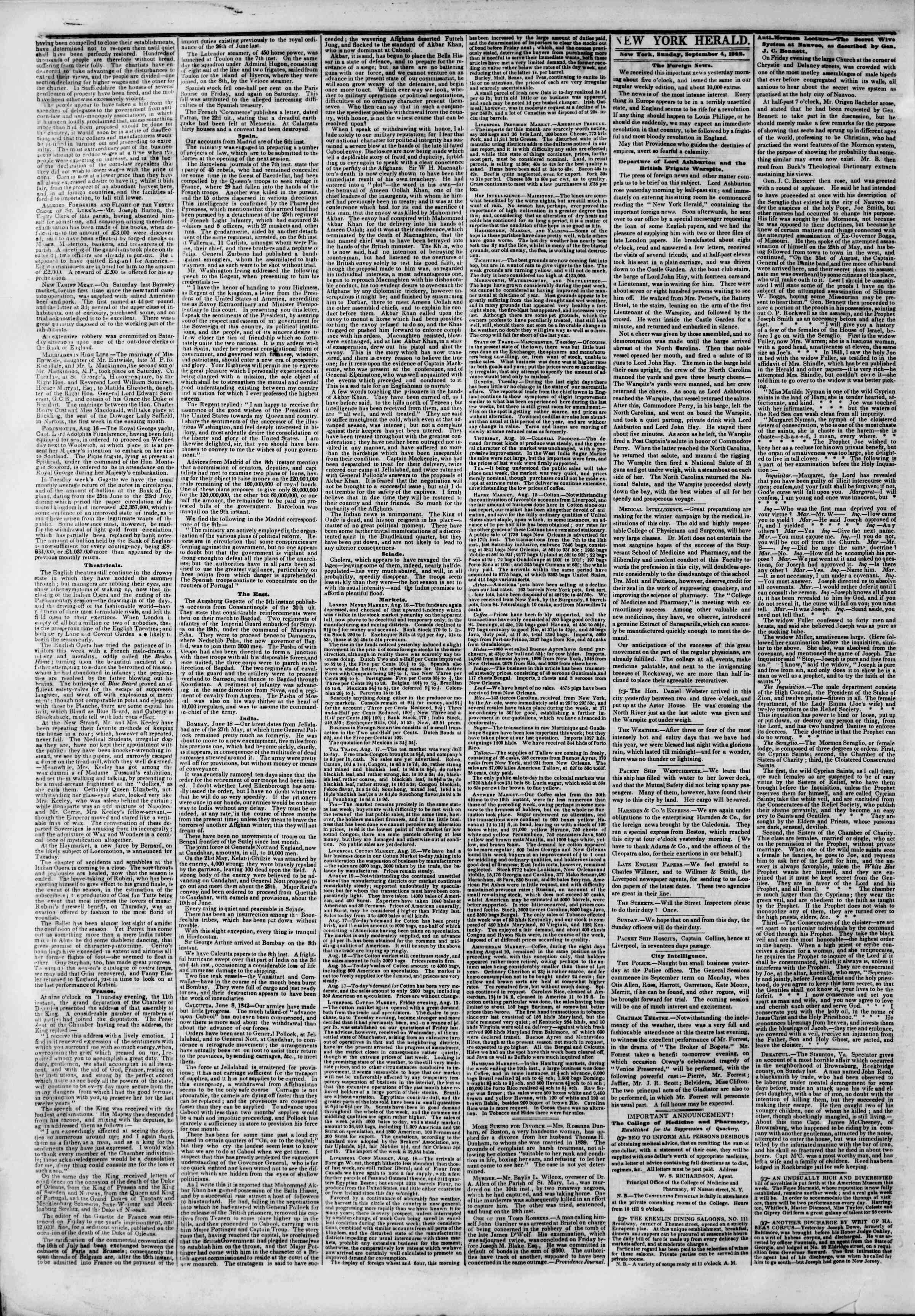 Newspaper of The New York Herald dated September 4, 1842 Page 2