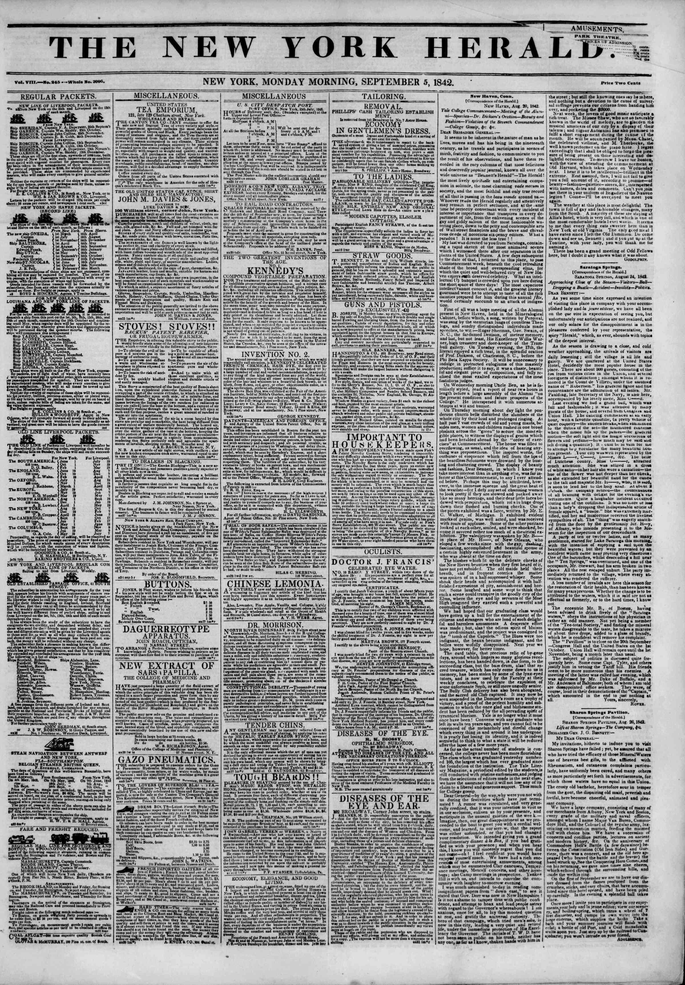 September 5, 1842 Tarihli The New York Herald Gazetesi Sayfa 1