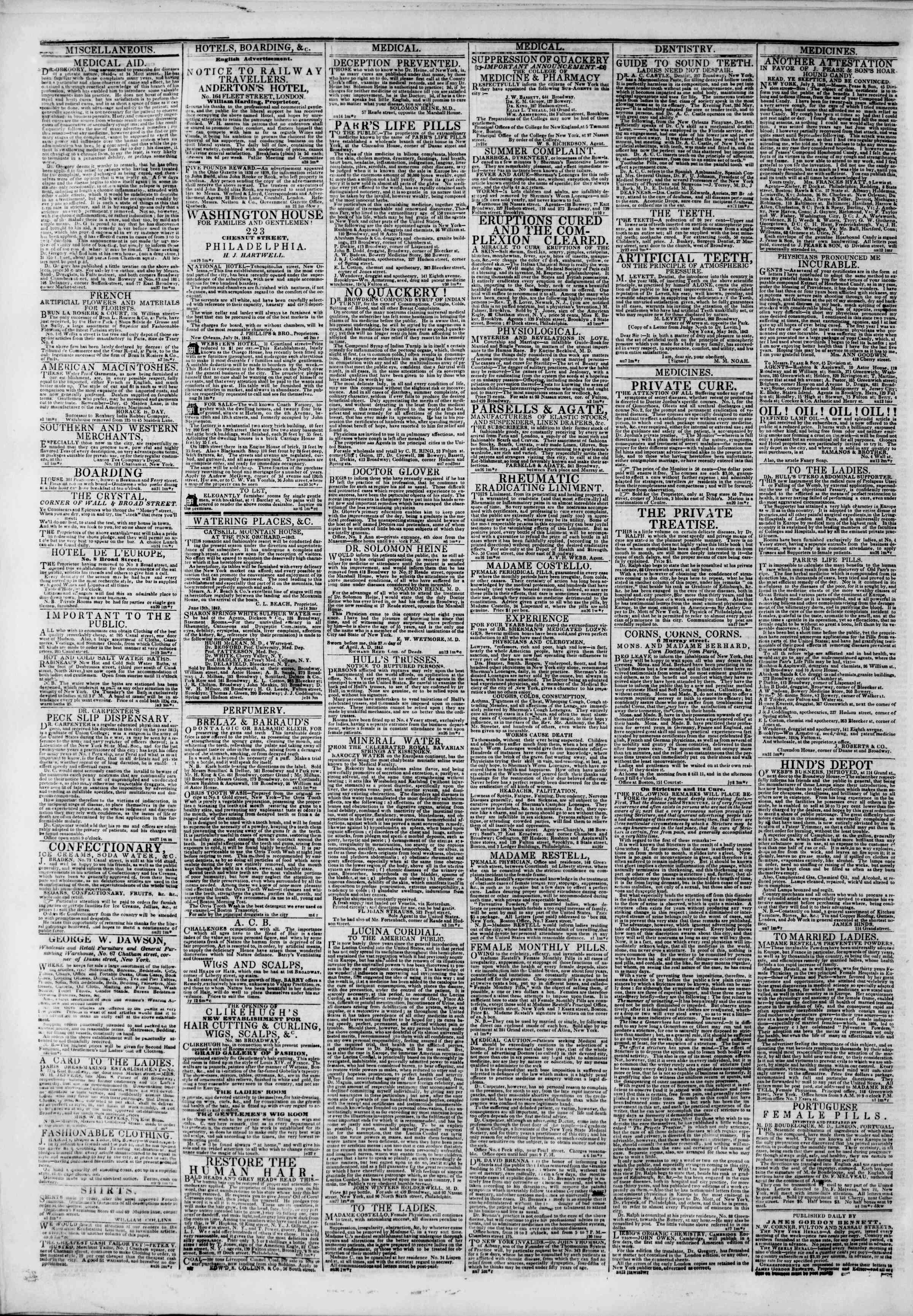 Newspaper of The New York Herald dated September 5, 1842 Page 2