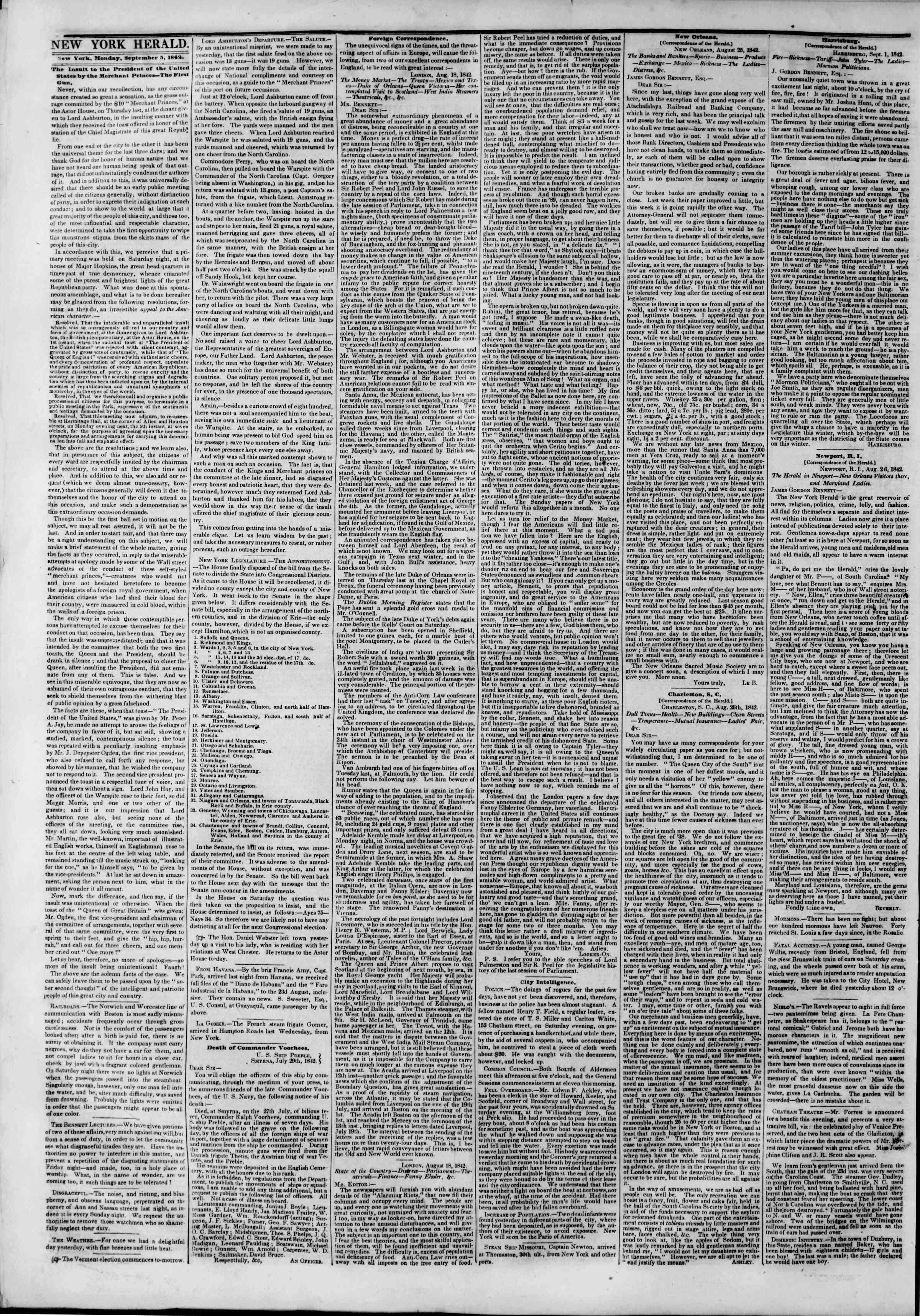 September 5, 1842 Tarihli The New York Herald Gazetesi Sayfa 4